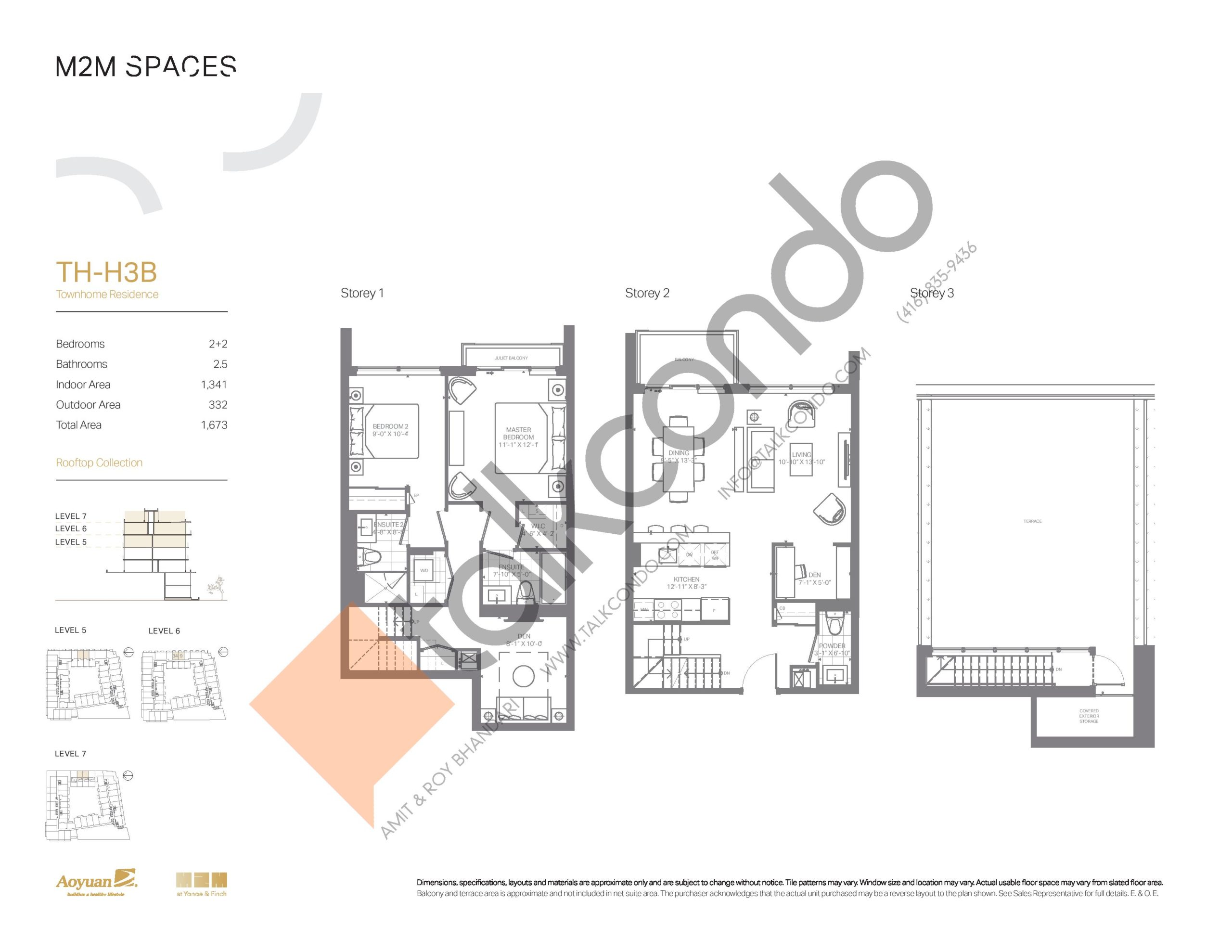 TH-H3B (Rooftop Collection) Floor Plan at M2M Spaces Condos - 1341 sq.ft