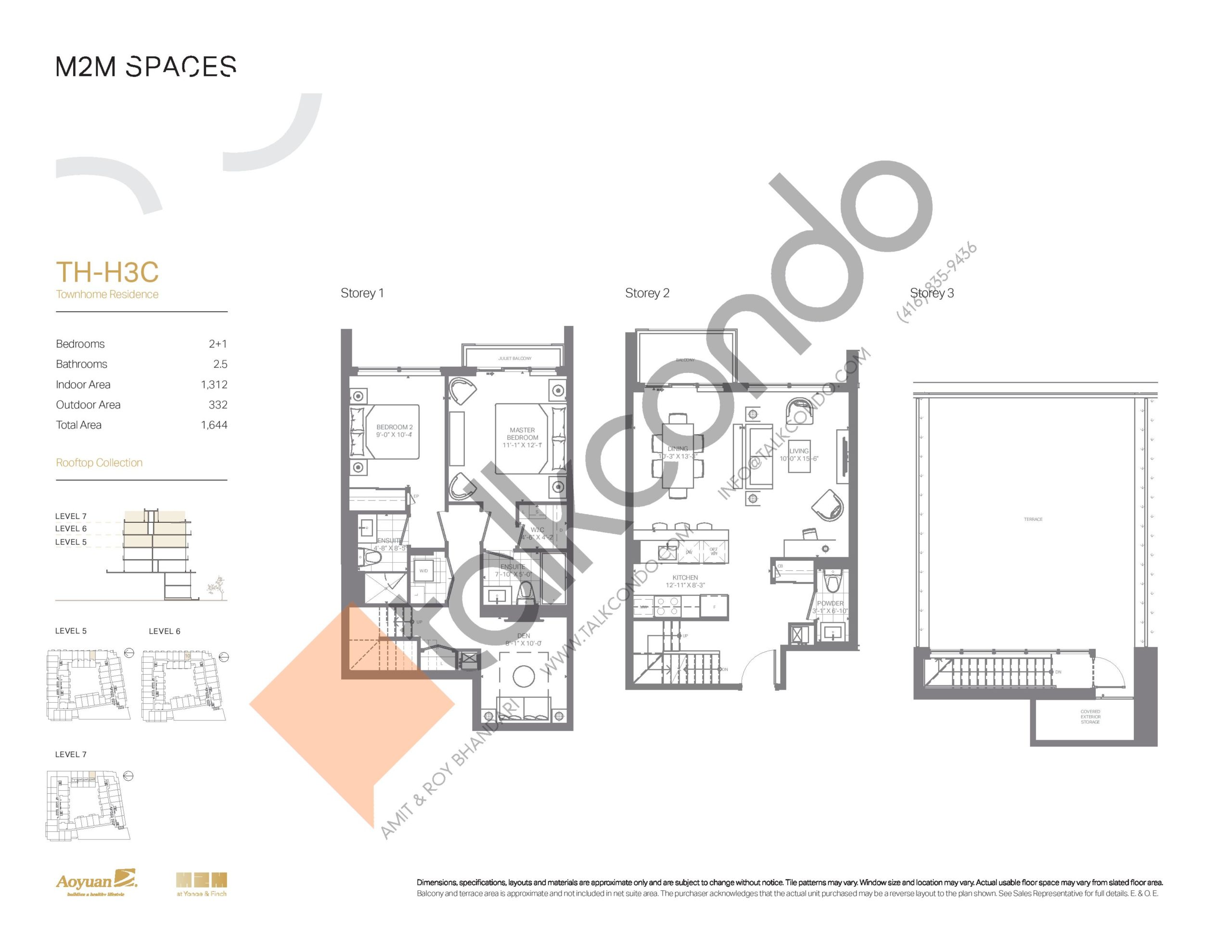 TH-H3C (Rooftop Collection) Floor Plan at M2M Spaces Condos - 1312 sq.ft