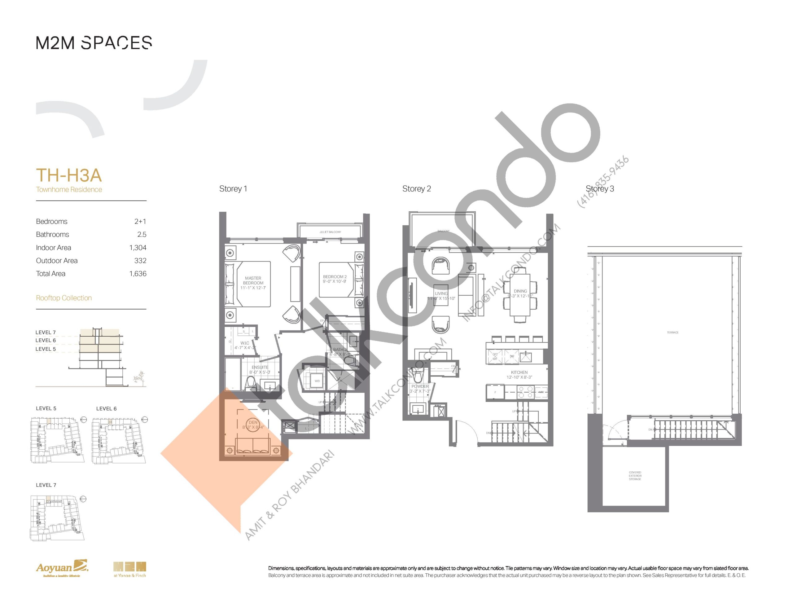 TH-H3A (Rooftop Collection) Floor Plan at M2M Spaces Condos - 1304 sq.ft