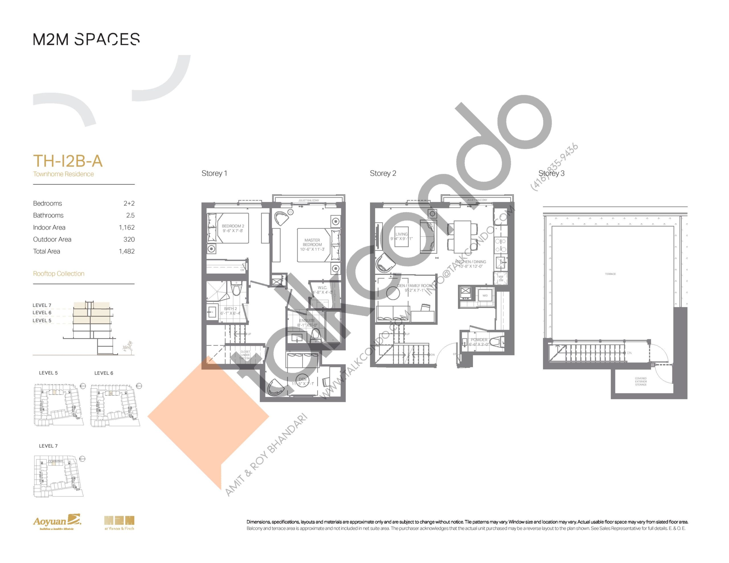 TH-I2B-A (Rooftop Collection) Floor Plan at M2M Spaces Condos - 1162 sq.ft