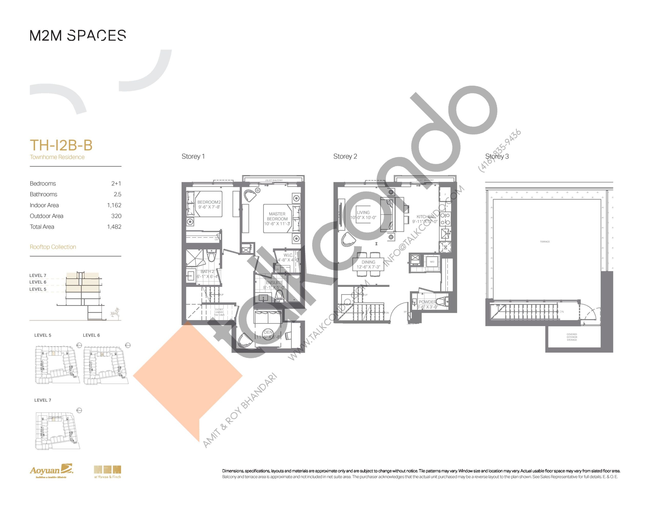 TH-I2B-B (Rooftop Collection) Floor Plan at M2M Spaces Condos - 1162 sq.ft