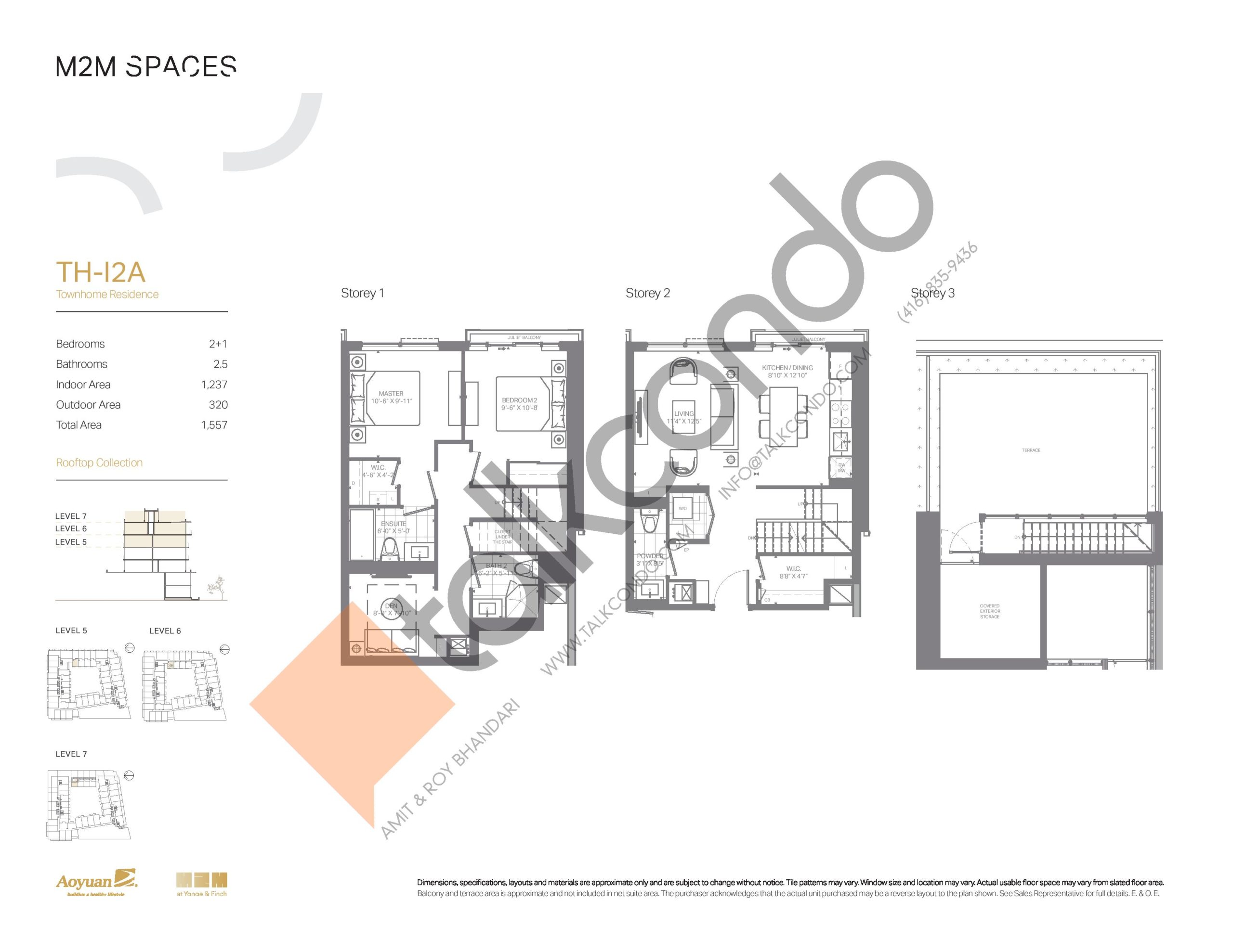 TH-I2A (Rooftop Collection) Floor Plan at M2M Spaces Condos - 1237 sq.ft