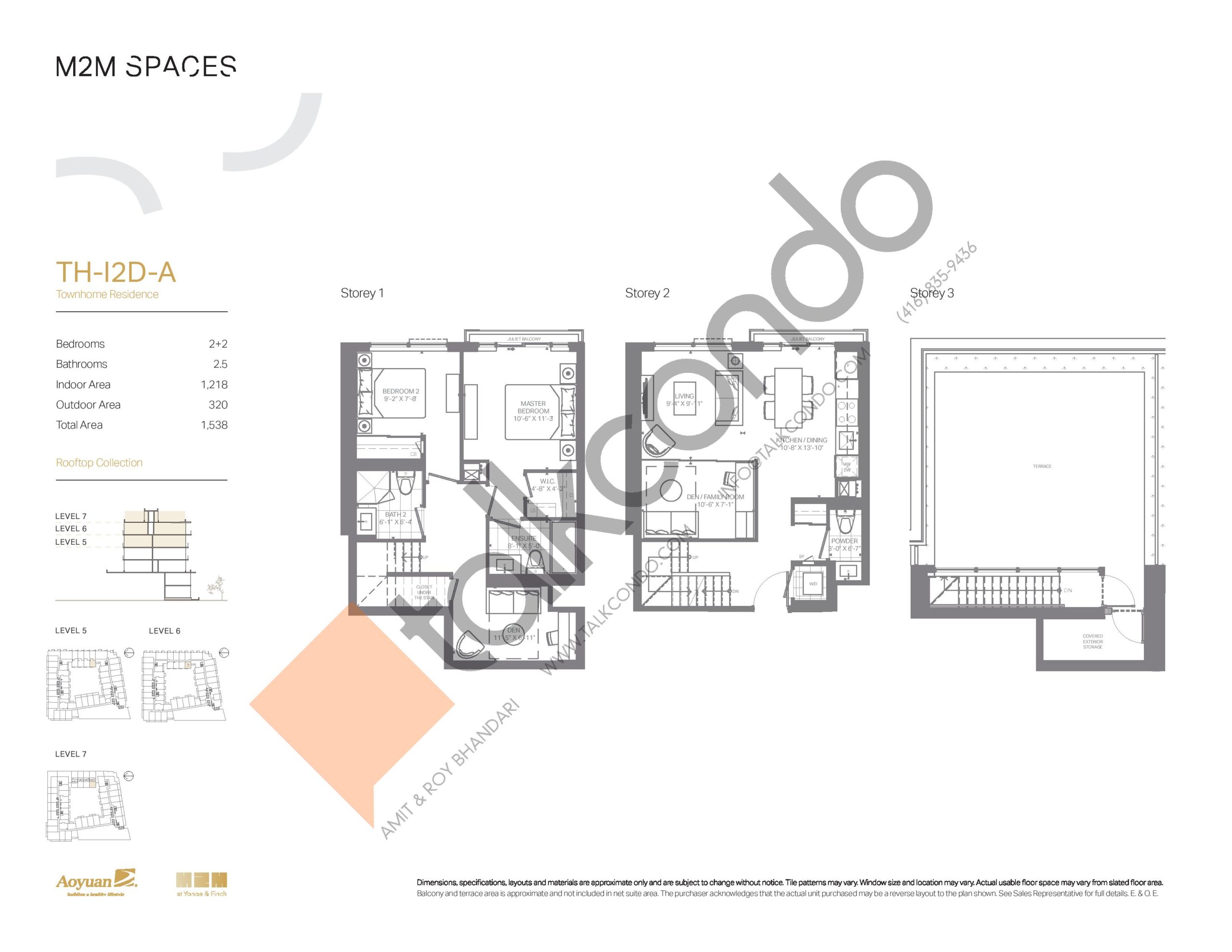 TH-I2D-A (Rooftop Collection) Floor Plan at M2M Spaces Condos - 1218 sq.ft