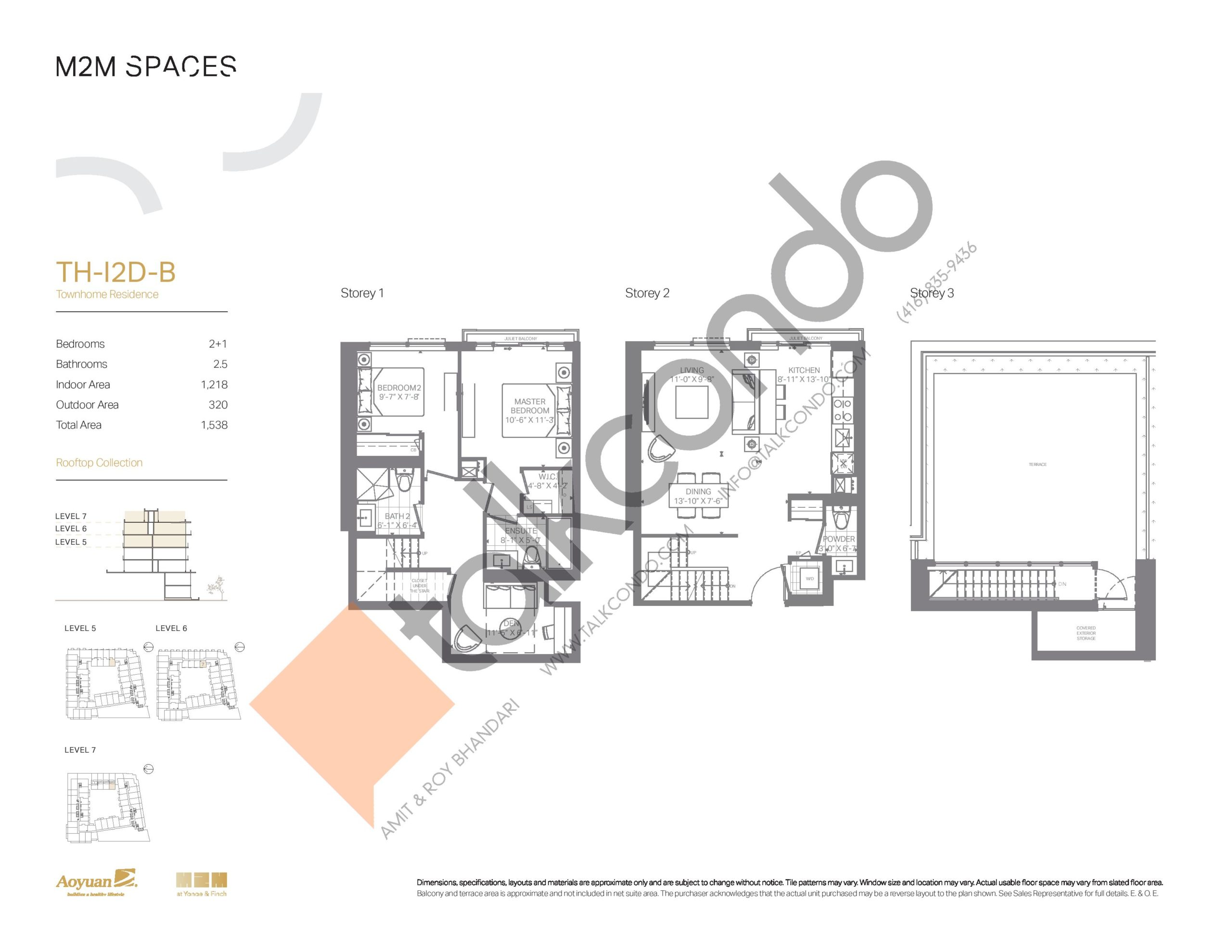 TH-I2D-B (Rooftop Collection) Floor Plan at M2M Spaces Condos - 1218 sq.ft
