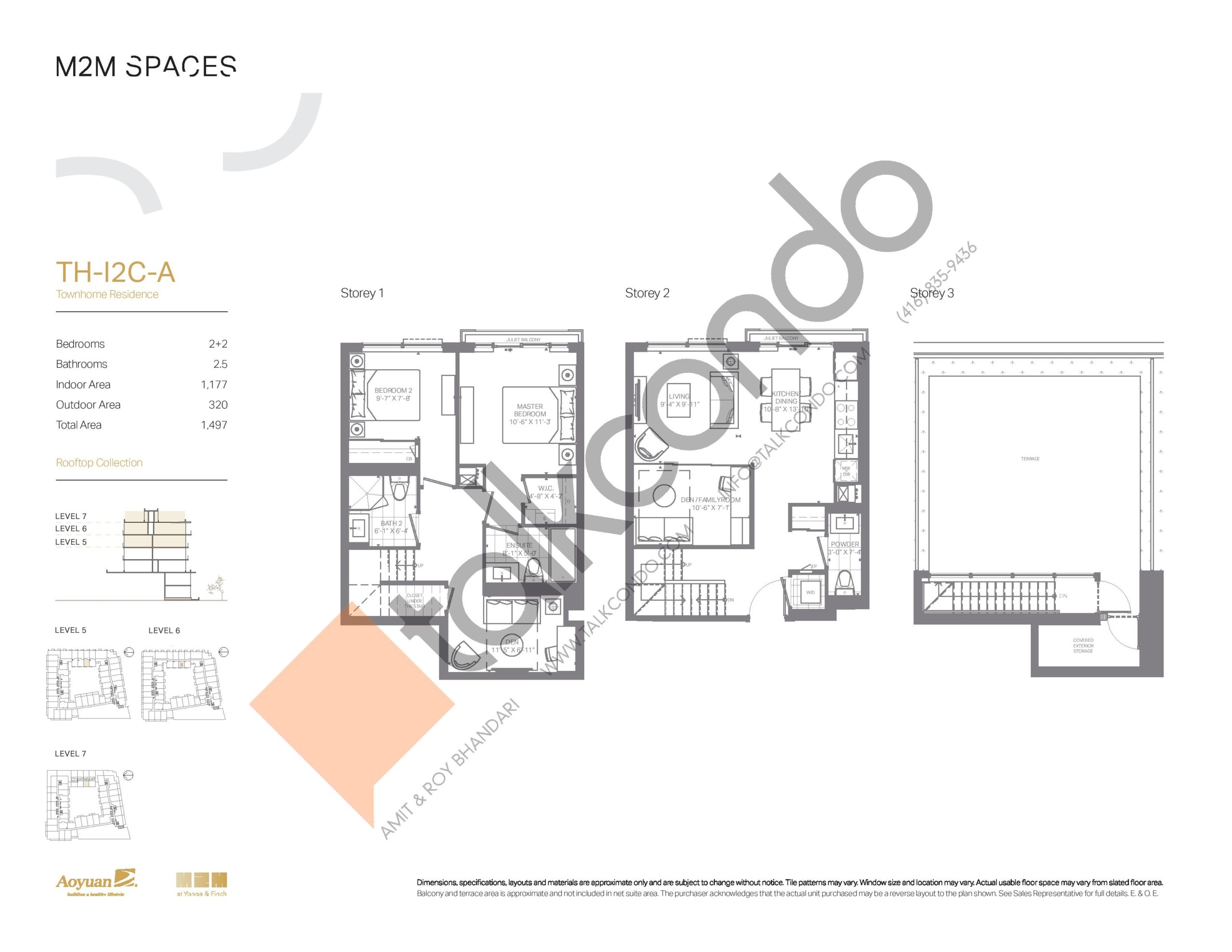 TH-I2C-A (Rooftop Collection) Floor Plan at M2M Spaces Condos - 1177 sq.ft