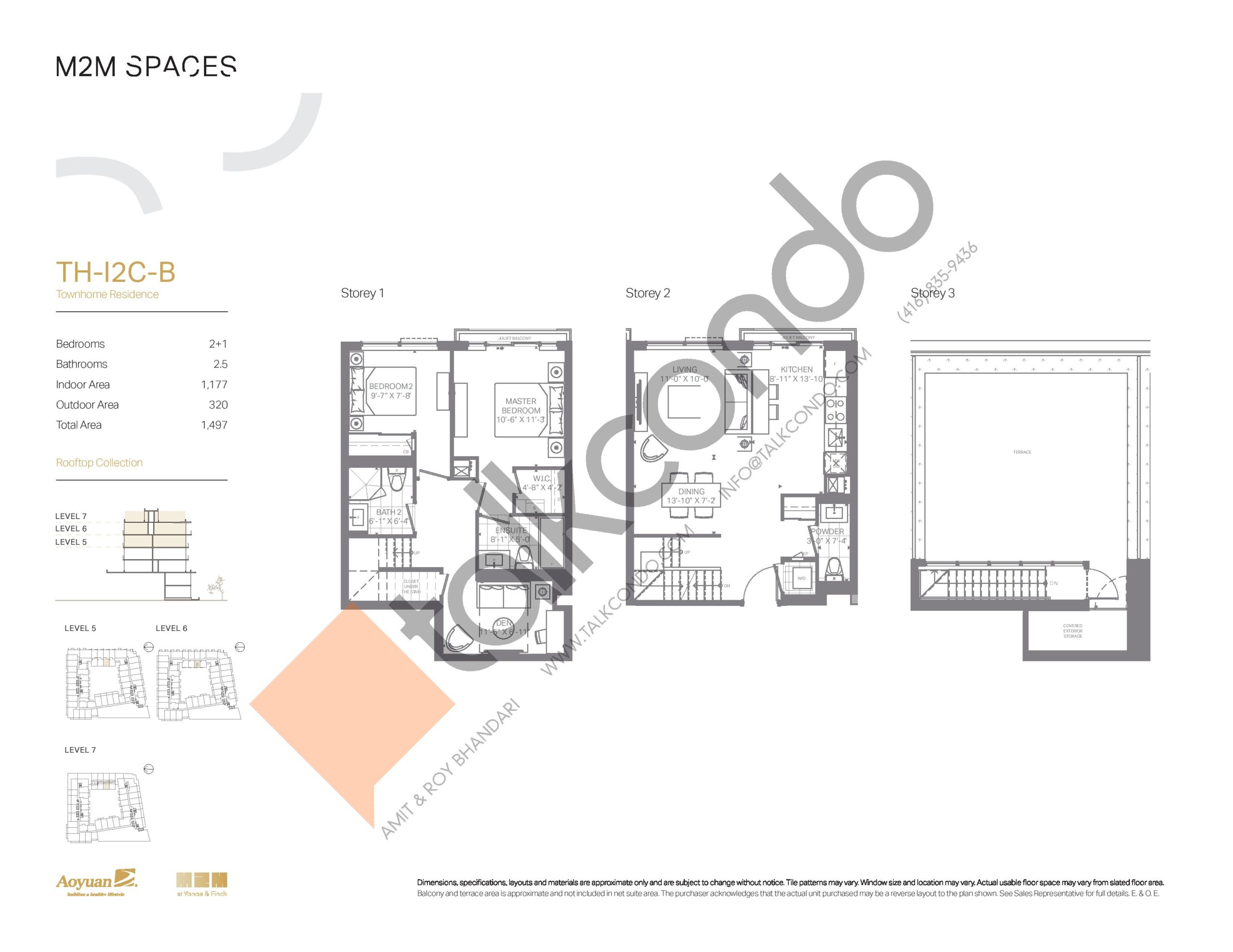 TH-I2C-B (Rooftop Collection) Floor Plan at M2M Spaces Condos - 1177 sq.ft