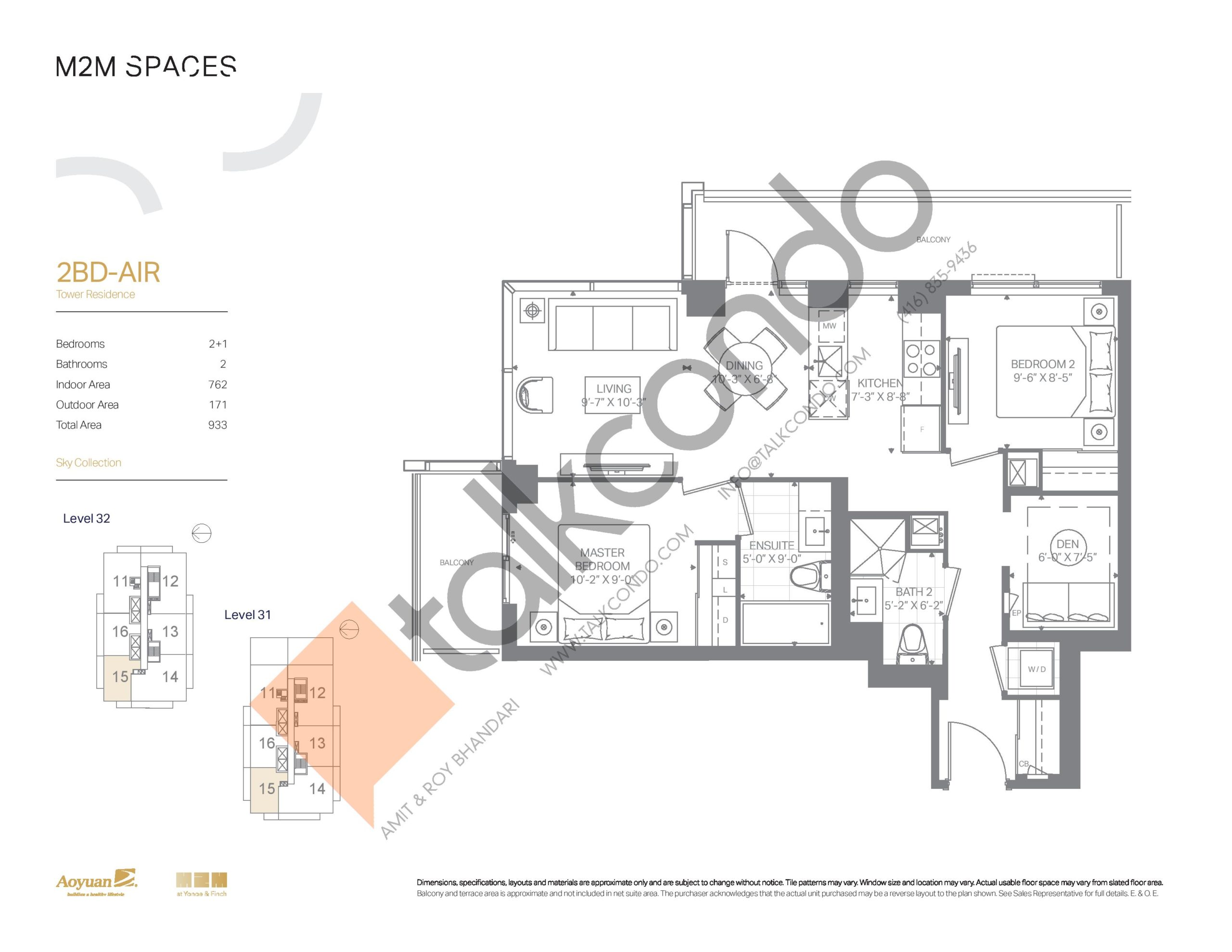 2BD-AIR (Sky Collection) Floor Plan at M2M Spaces Condos - 762 sq.ft