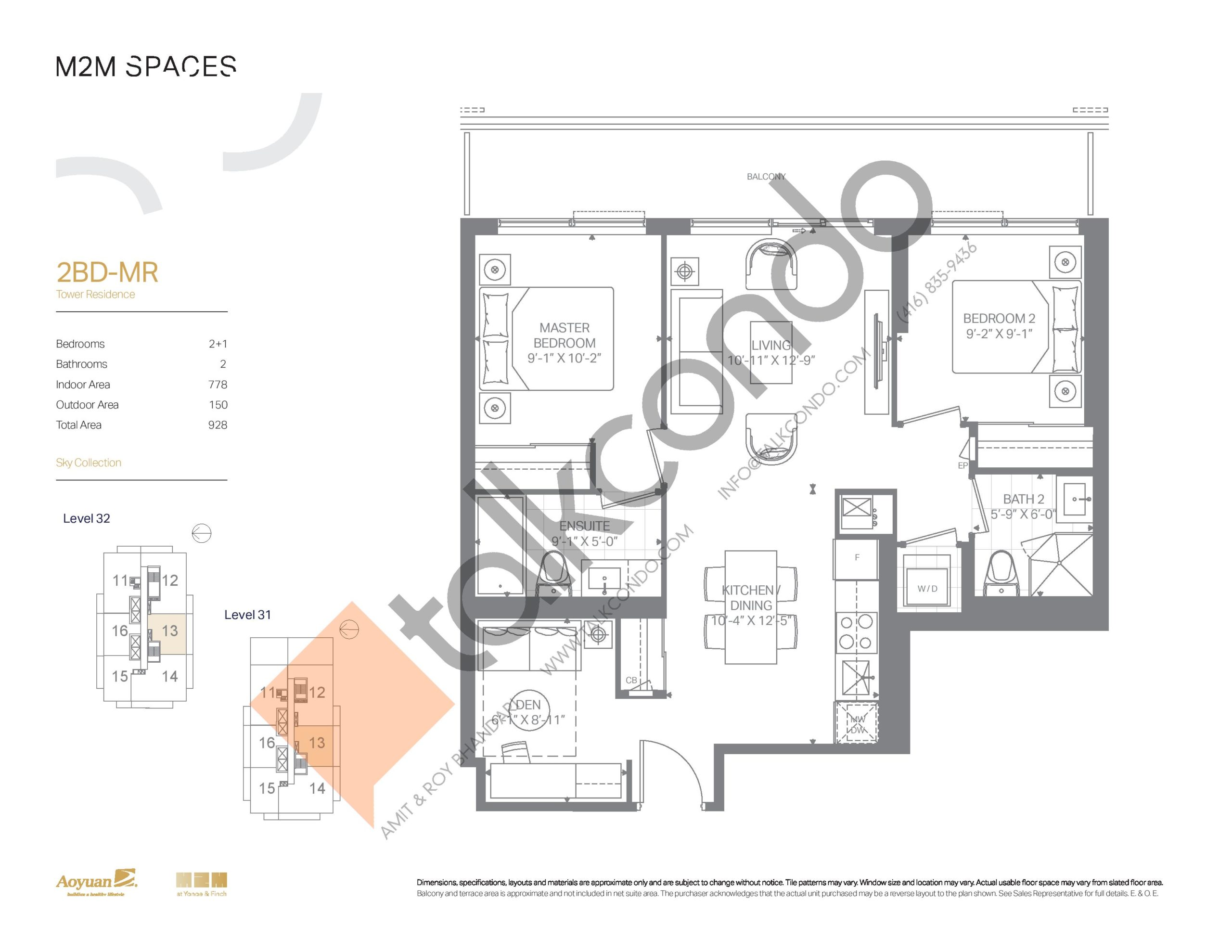 2BD-MR (Sky Collection) Floor Plan at M2M Spaces Condos - 778 sq.ft