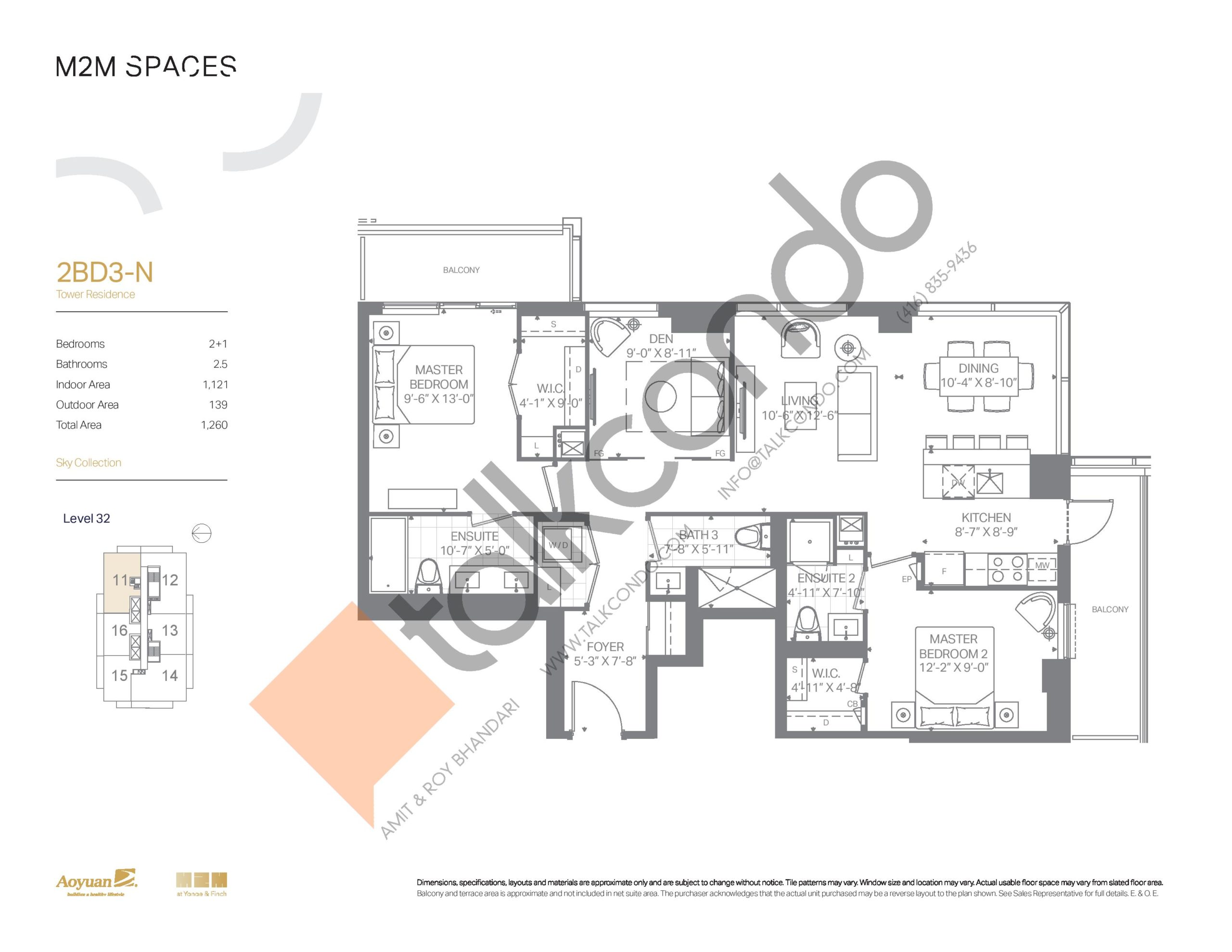 2BD3-N (Sky Collection) Floor Plan at M2M Spaces Condos - 1121 sq.ft