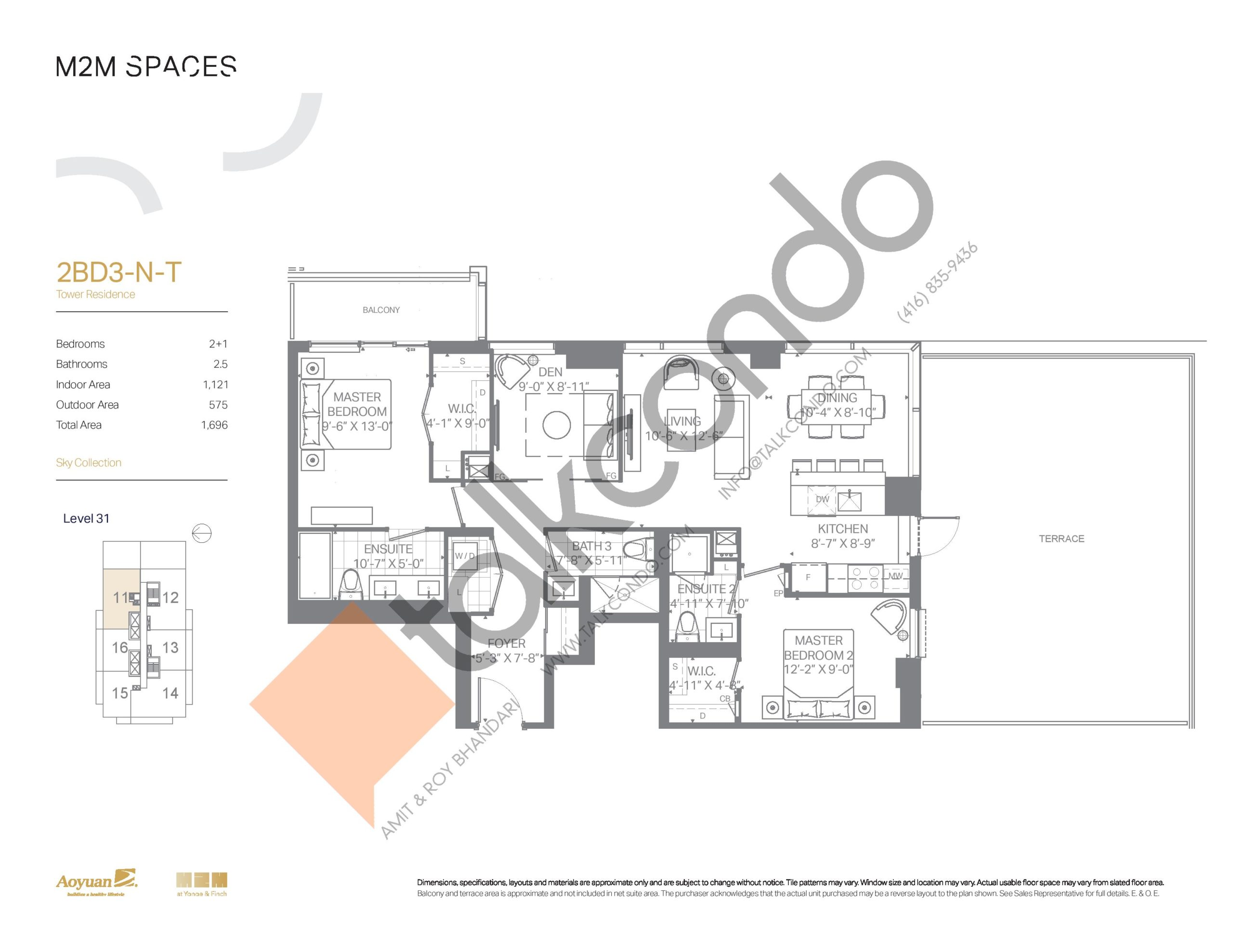 2BD3-N-T (Sky Collection) Floor Plan at M2M Spaces Condos - 1121 sq.ft