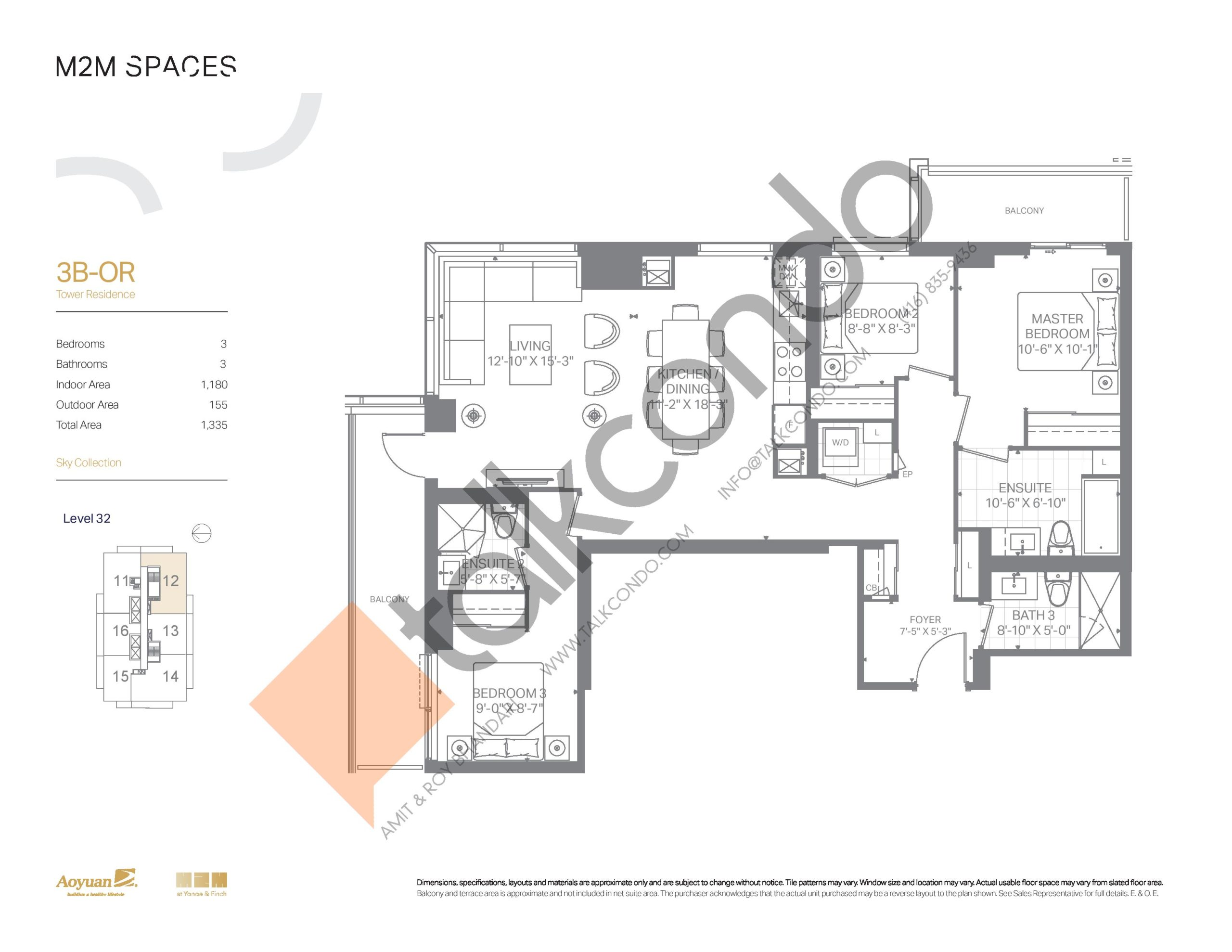 3B-OR (Sky Collection) Floor Plan at M2M Spaces Condos - 1180 sq.ft