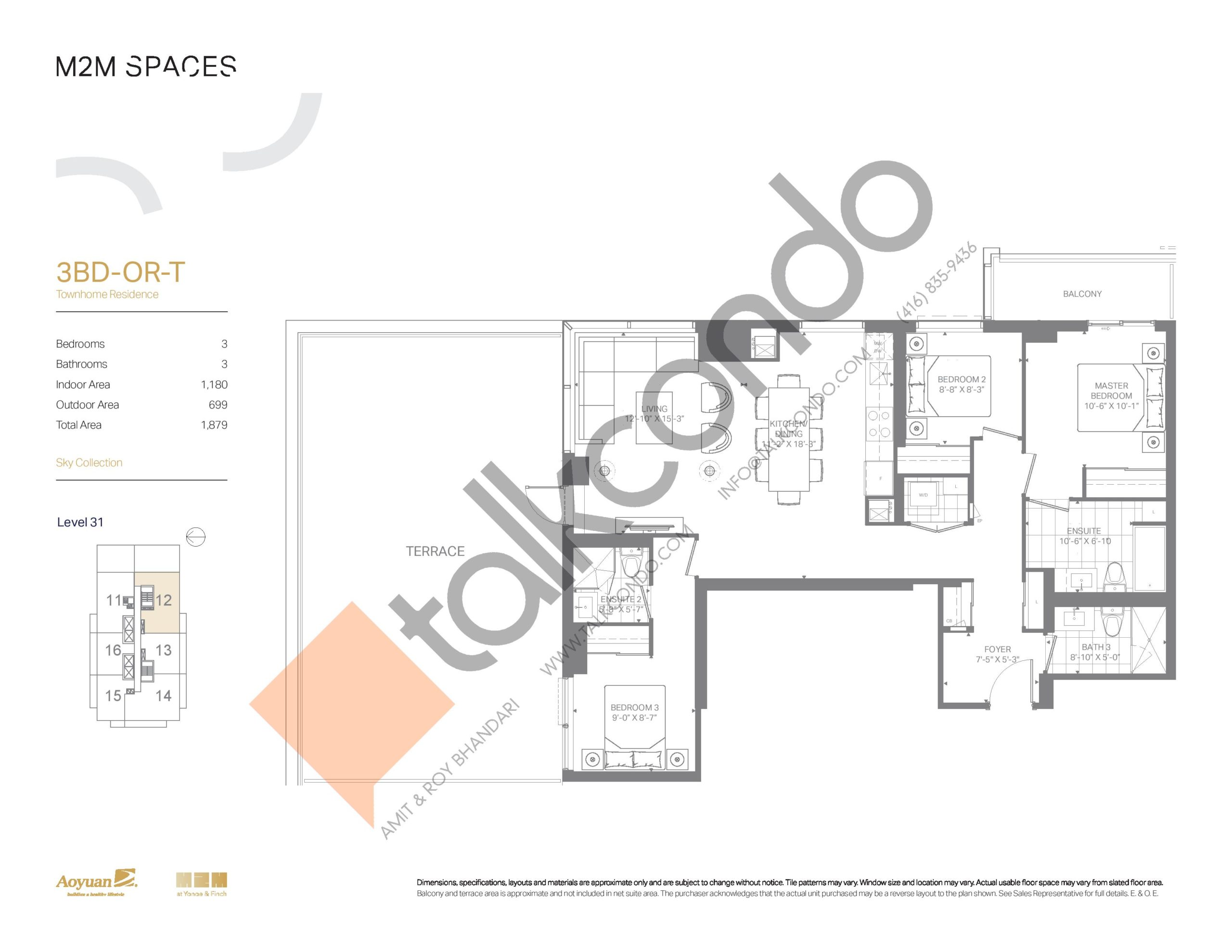 3BD-OR-T (Sky Collection) Floor Plan at M2M Spaces Condos - 1180 sq.ft