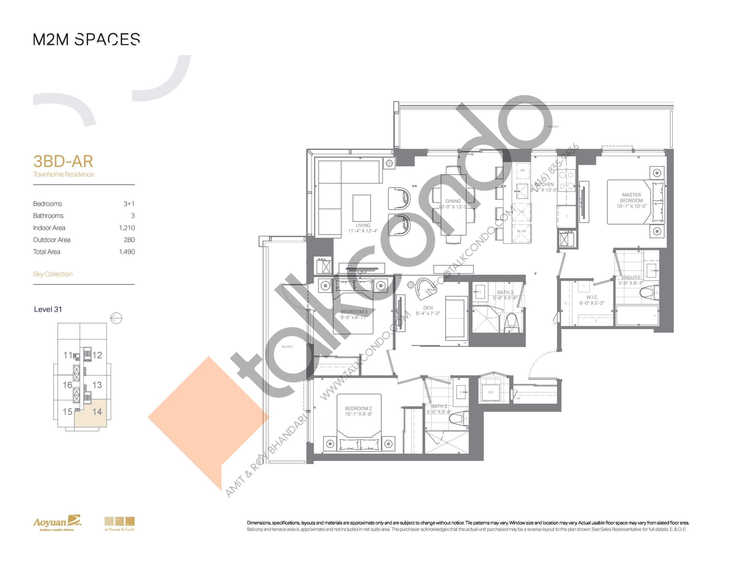 3BD-AR (Sky Collection) Floor Plan at M2M Spaces Condos - 1210 sq.ft