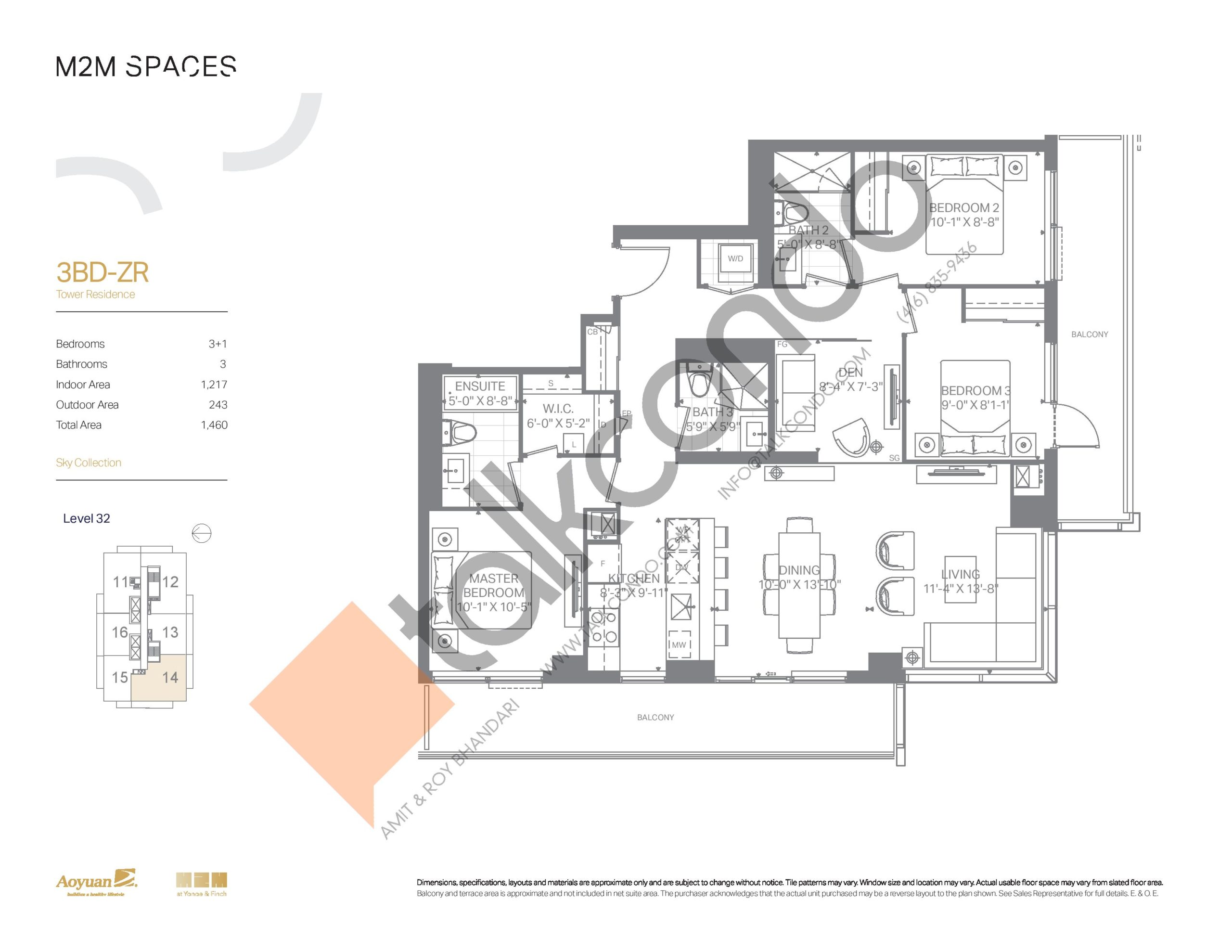 3BD-ZR (Sky Collection) Floor Plan at M2M Spaces Condos - 1217 sq.ft