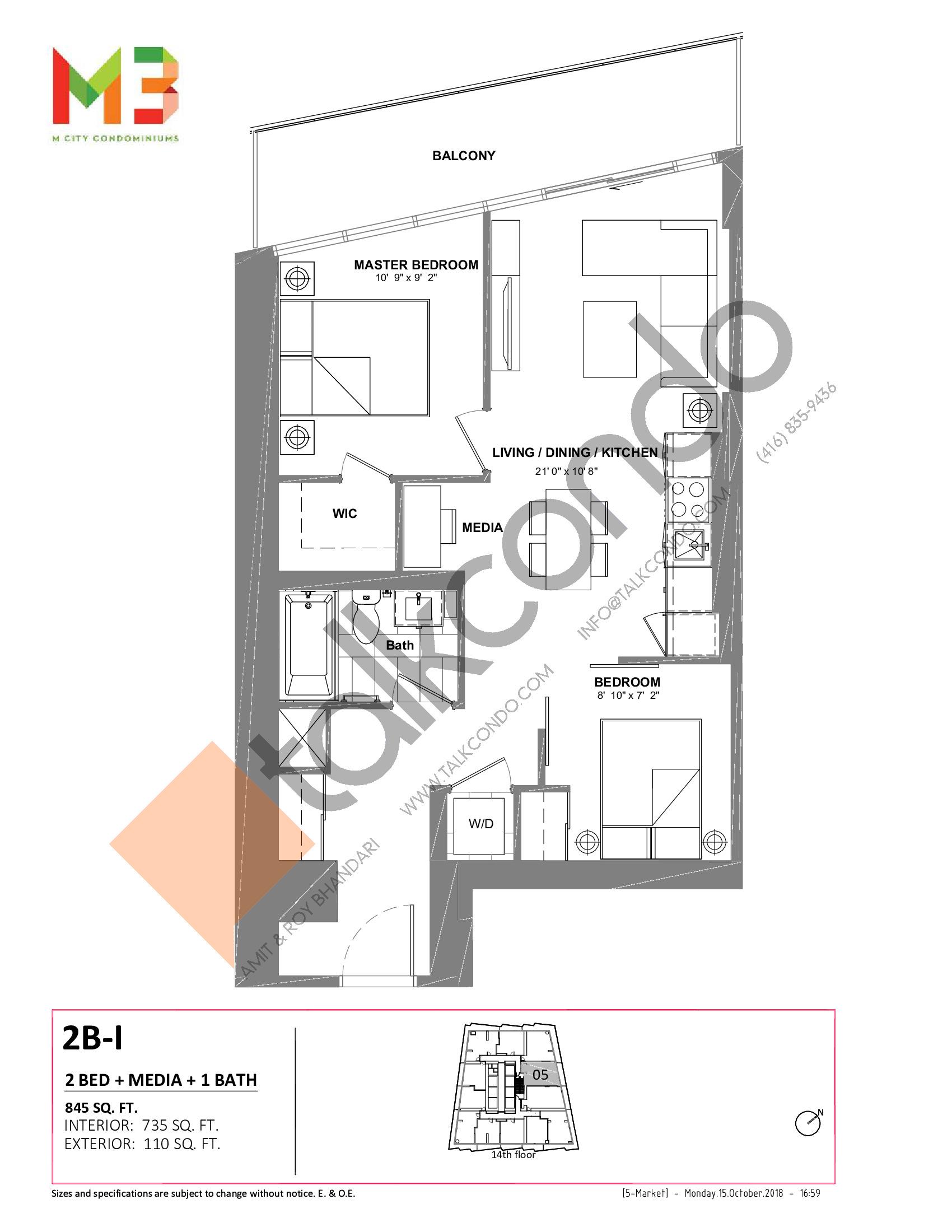 2B-I Floor Plan at M3 Condos - 735 sq.ft