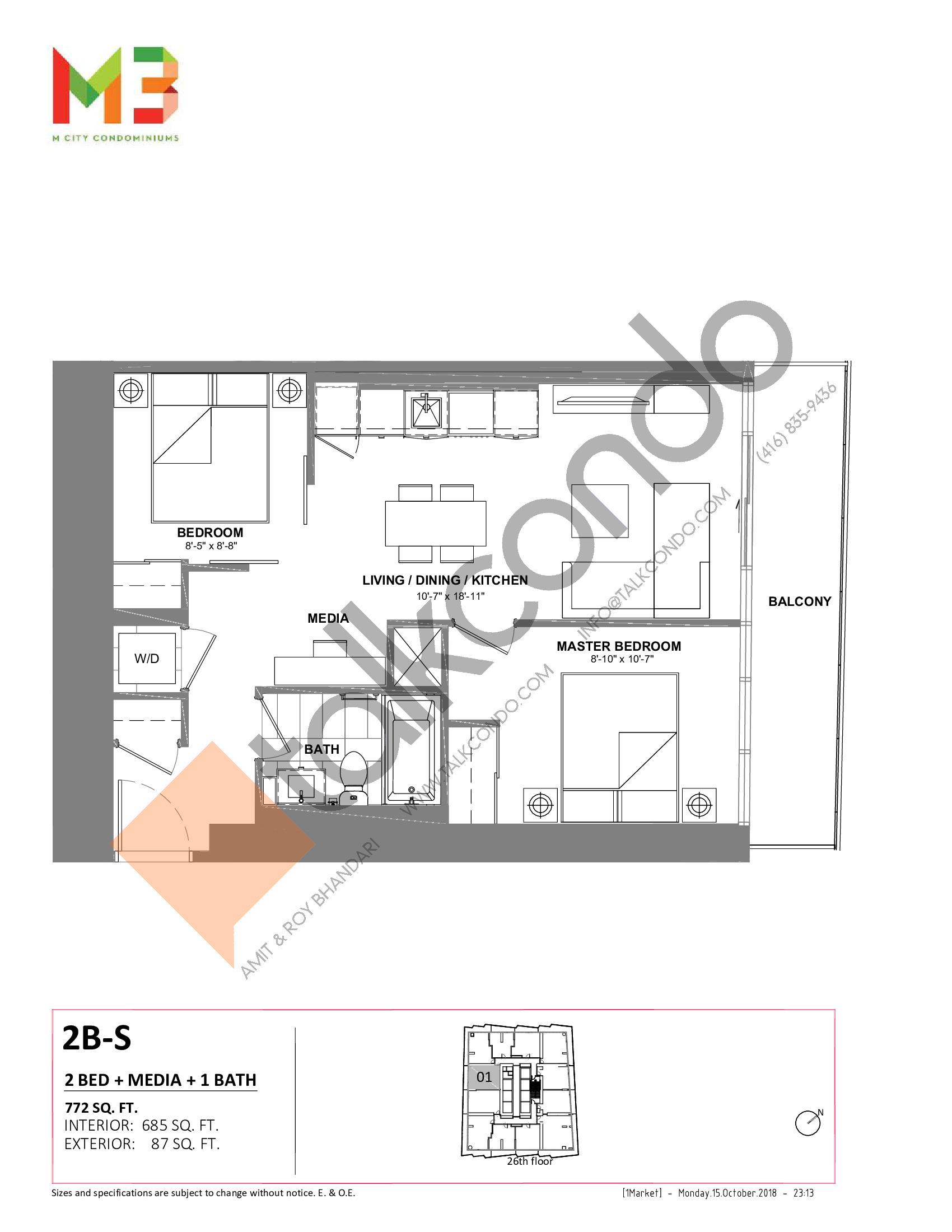 2B-S Floor Plan at M3 Condos - 685 sq.ft