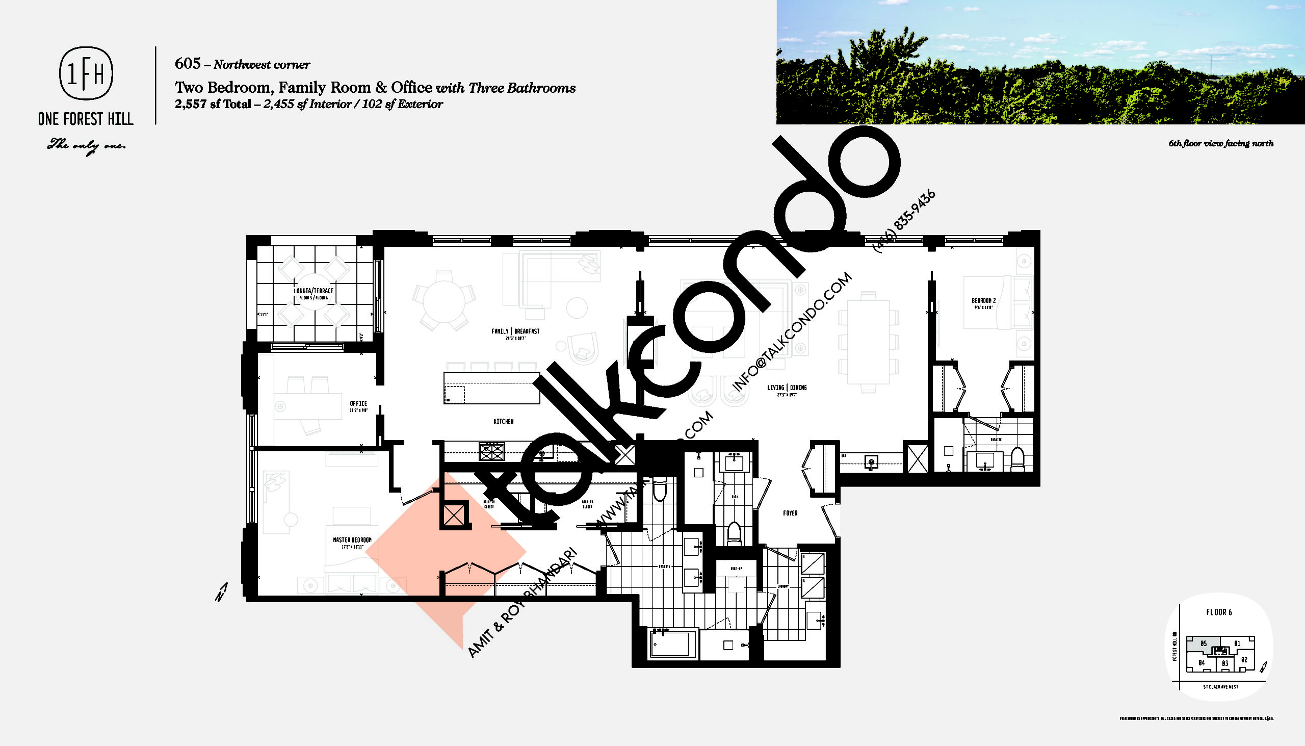 605 Floor Plan at One Forest Hill Condos - 2455 sq.ft