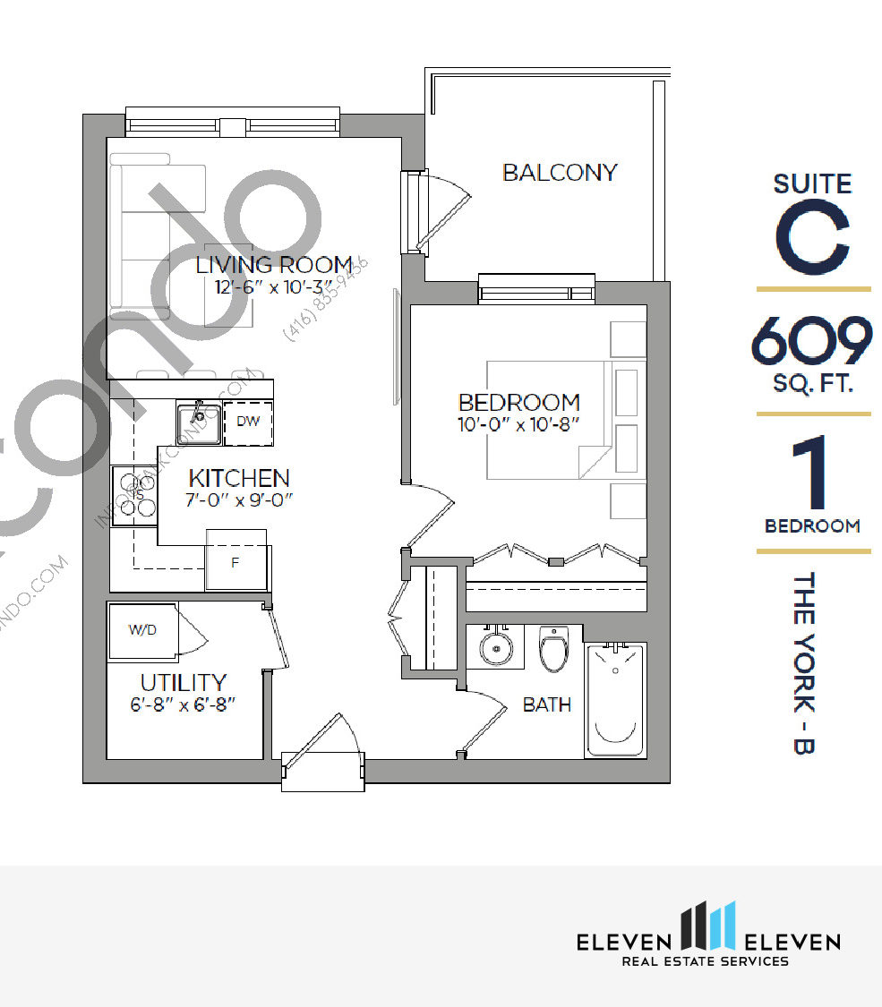The York - B Floor Plan at Reign Condo - 609 sq.ft