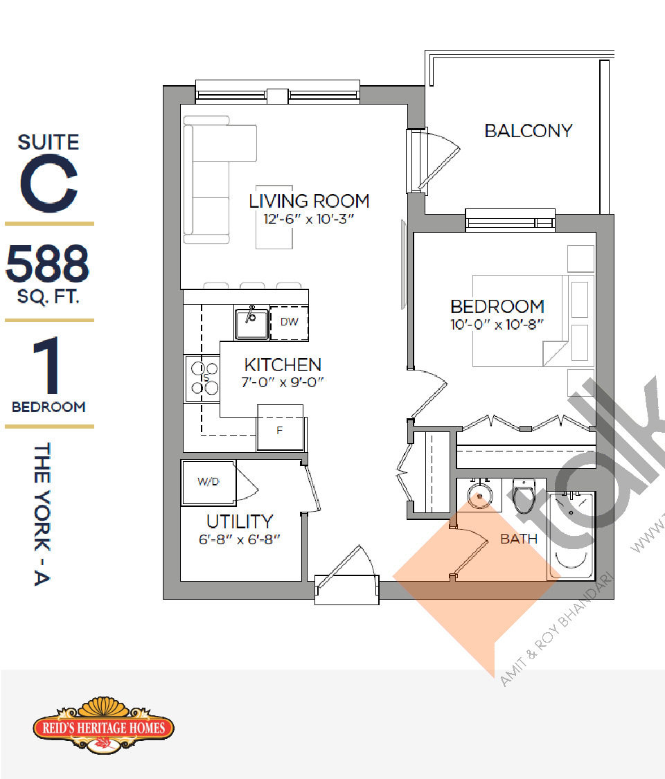 The York - A Floor Plan at Reign Condo - 588 sq.ft