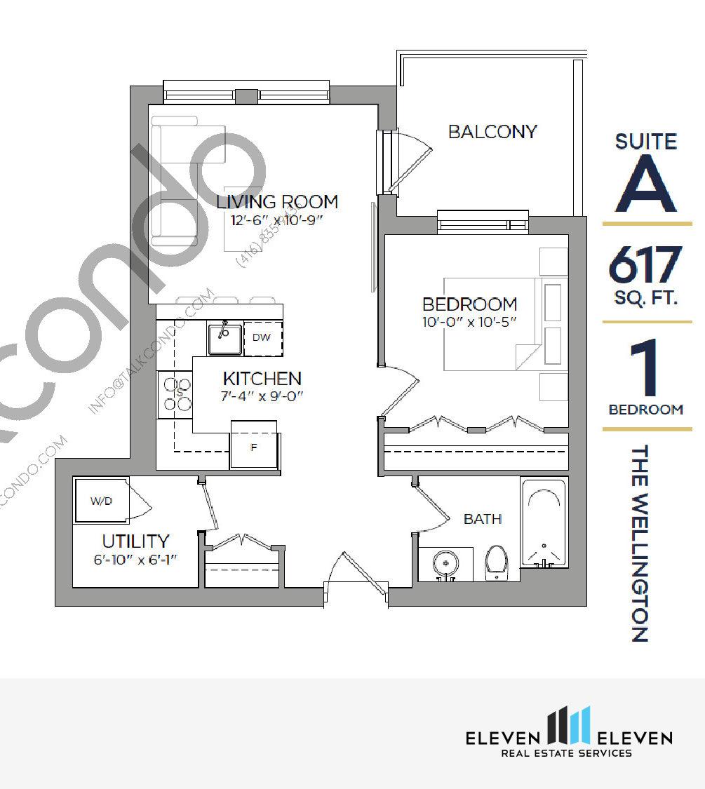 The Wellington Floor Plan at Reign Condo - 617 sq.ft