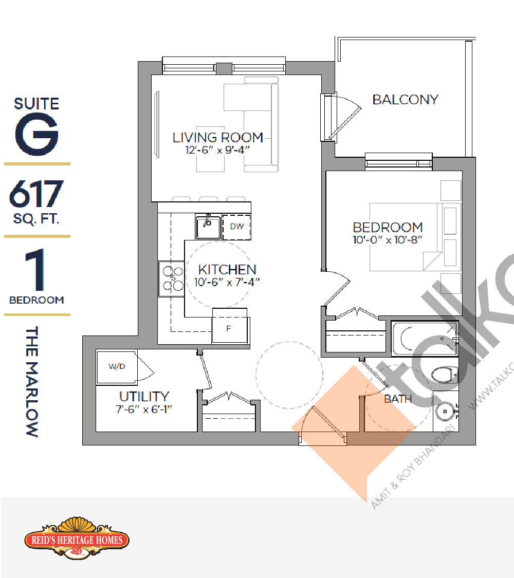 The Marlow Floor Plan at Reign Condo - 617 sq.ft