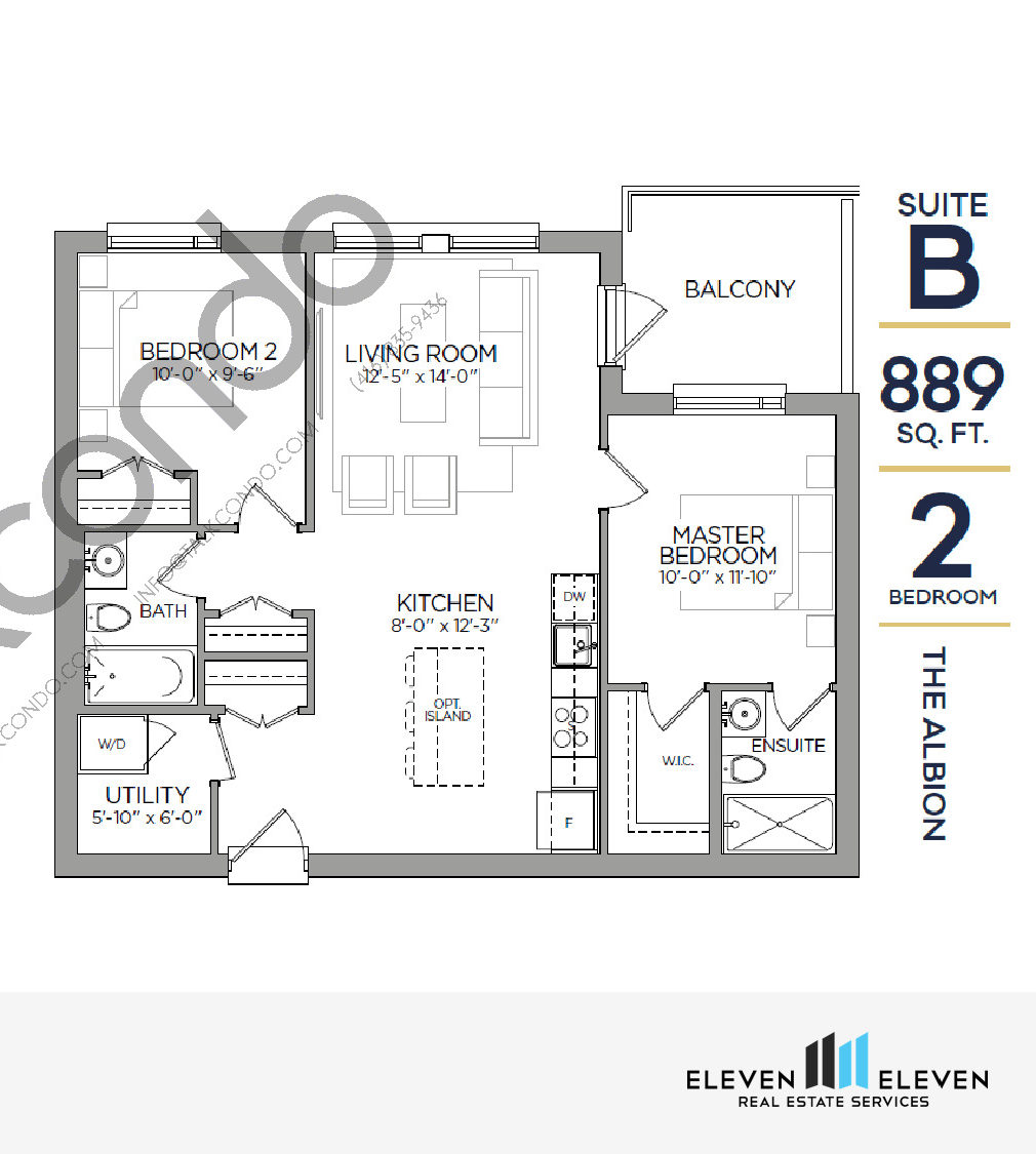 The Albion Floor Plan at Reign Condo - 889 sq.ft
