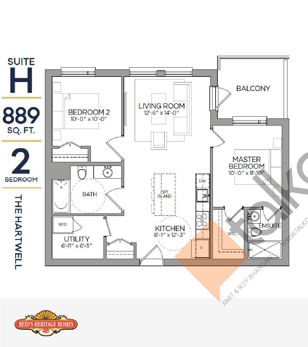The Hartwell Floor Plan at Reign Condo - 889 sq.ft