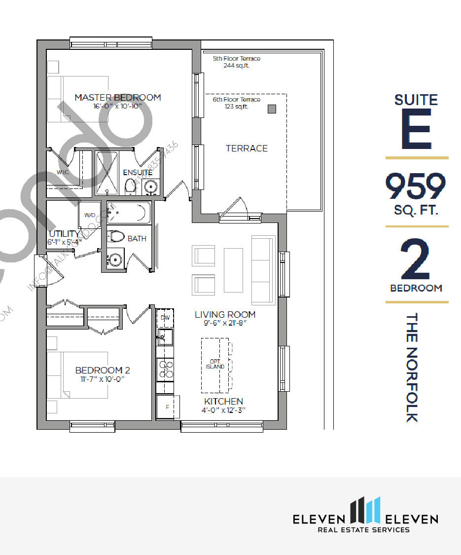 The Norfolk Floor Plan at Reign Condo - 959 sq.ft