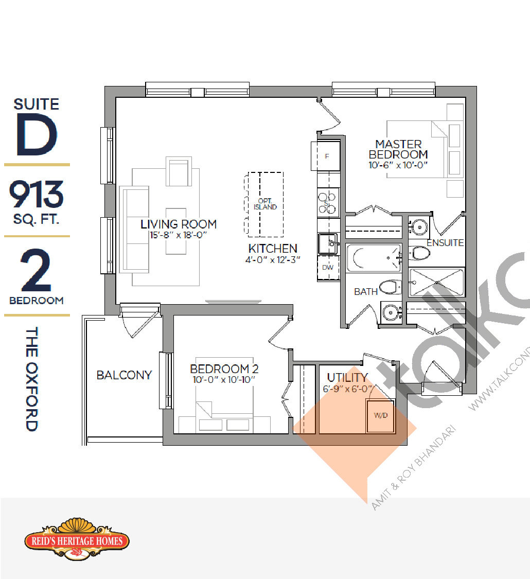 The Oxford Floor Plan at Reign Condo - 913 sq.ft