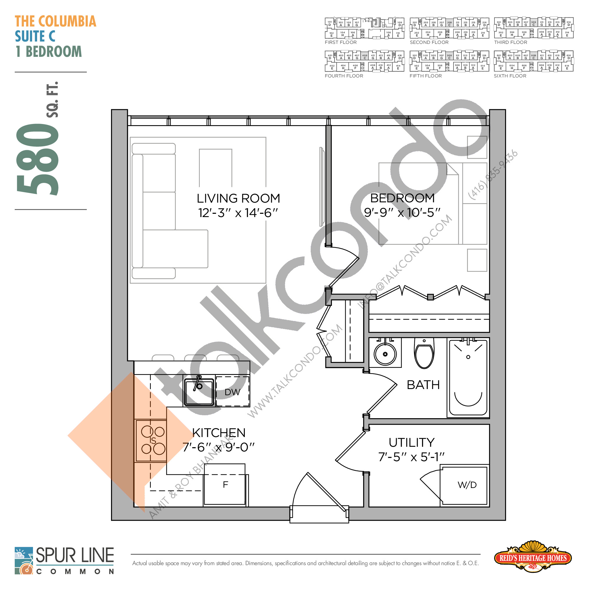 The Columbia Floor Plan at Spur Line Common Condos - 580 sq.ft