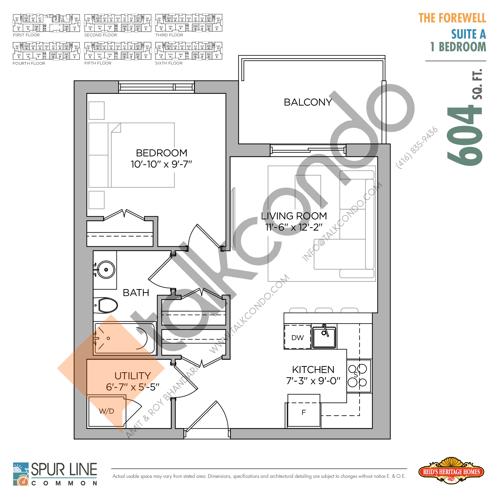 The Forewell Floor Plan at Spur Line Common Condos - 604 sq.ft