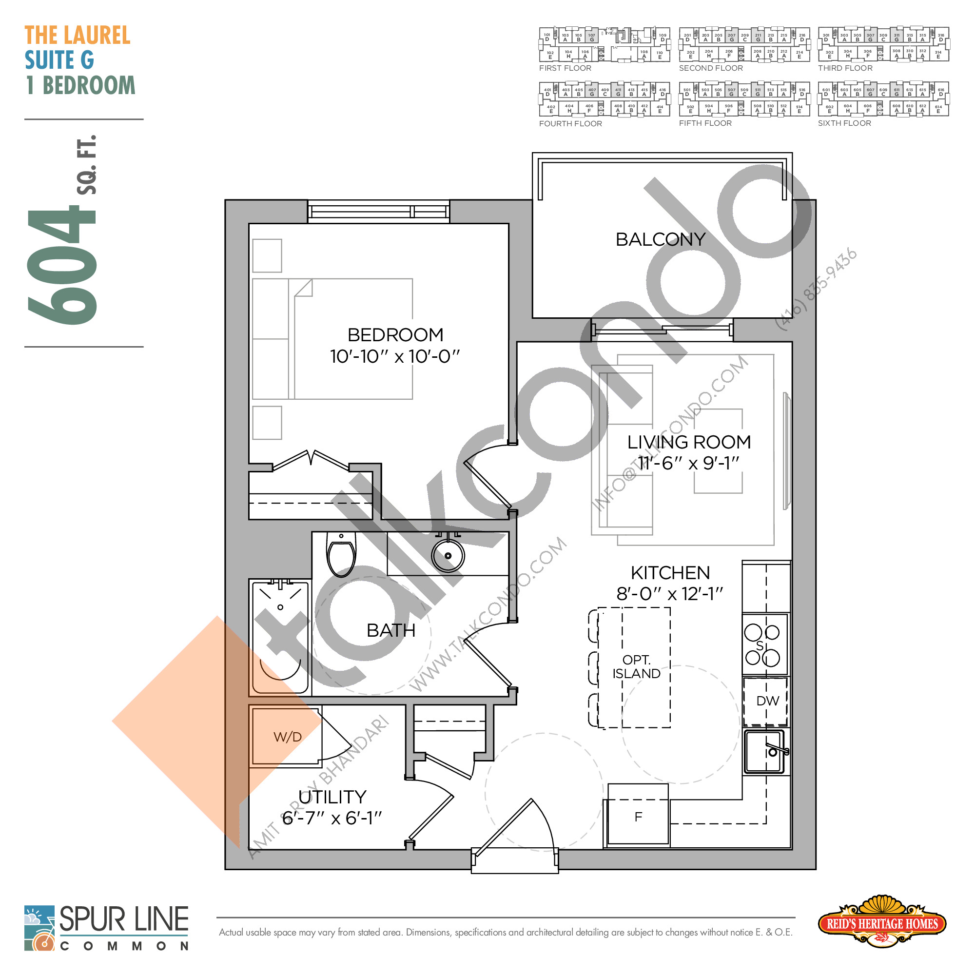 The Laurel Floor Plan at Spur Line Common Condos - 604 sq.ft
