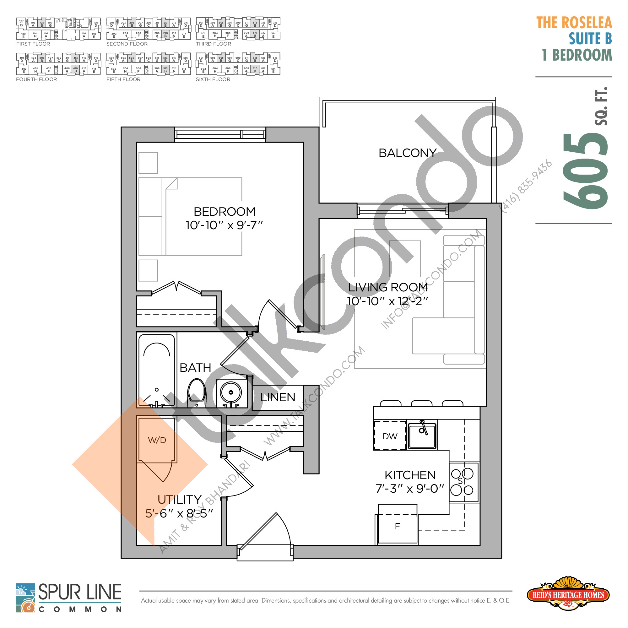 The Roselea Floor Plan at Spur Line Common Condos - 605 sq.ft
