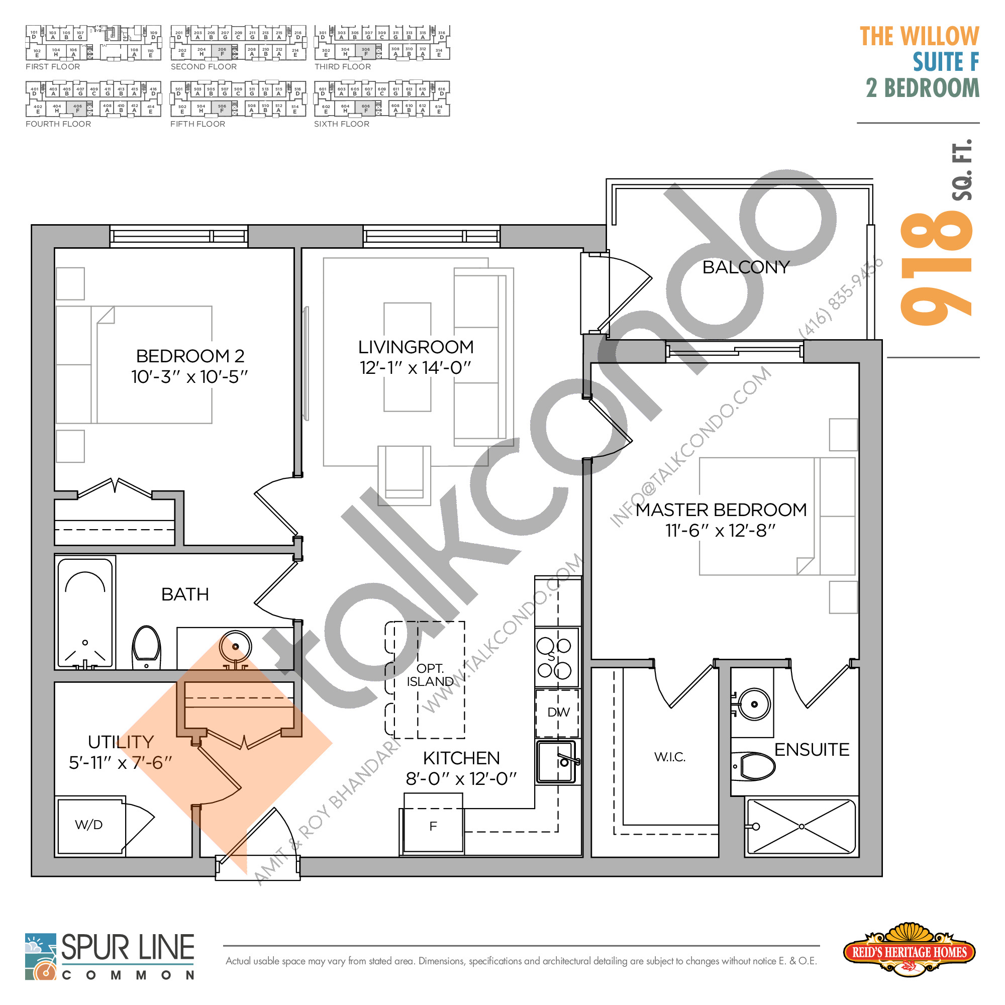 The Willow Floor Plan at Spur Line Common Condos - 918 sq.ft