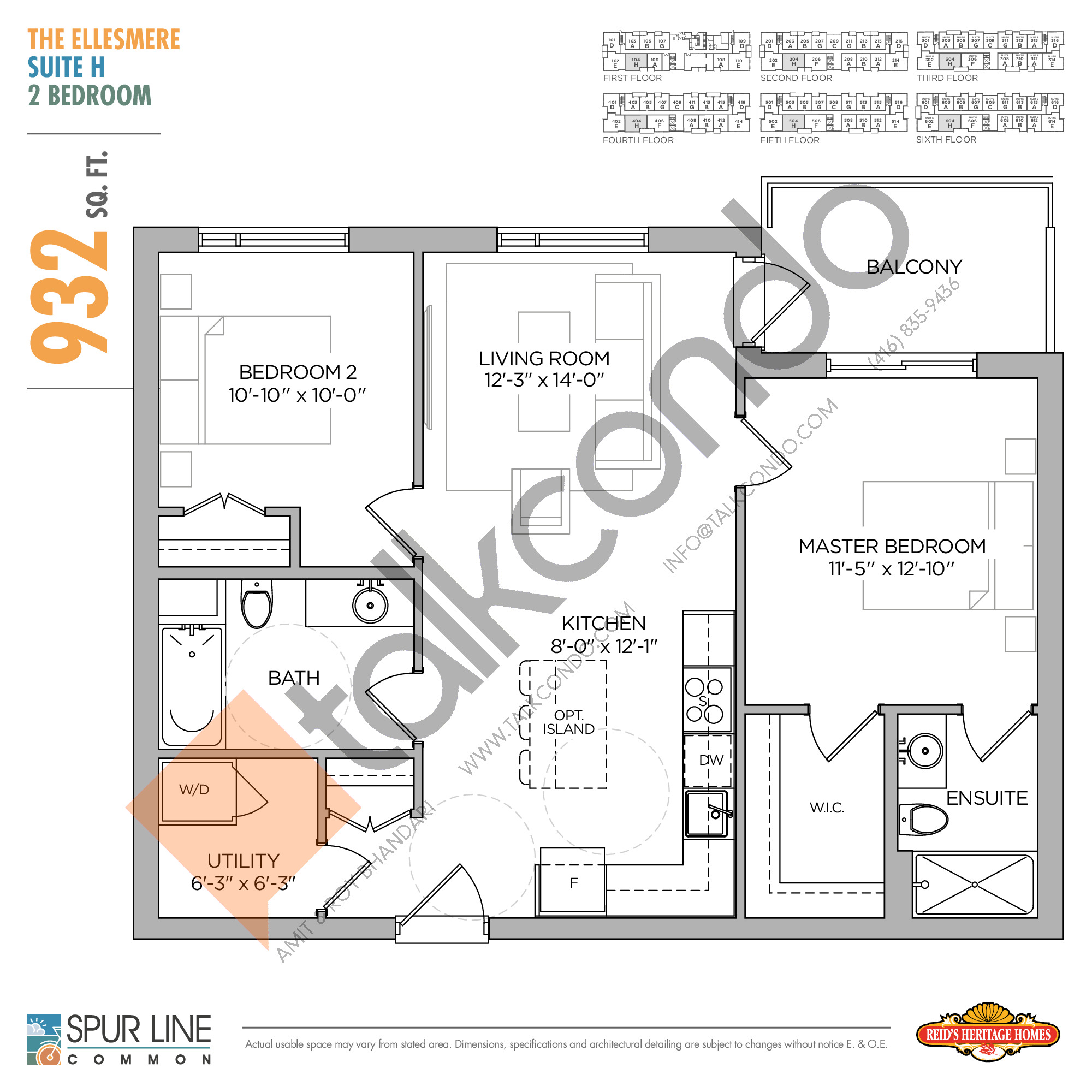 The Ellesmere Floor Plan at Spur Line Common Condos - 932 sq.ft