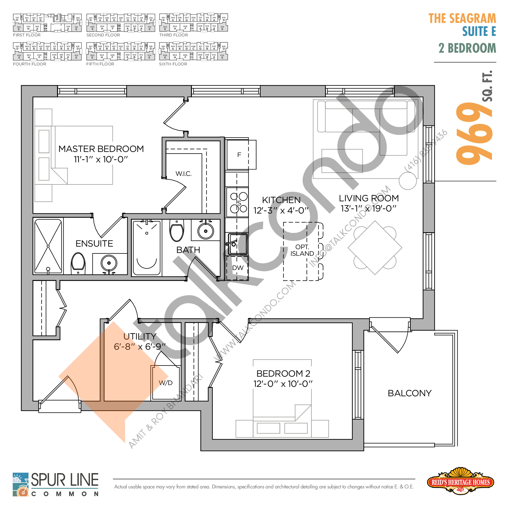 The Seagram Floor Plan at Spur Line Common Condos - 969 sq.ft