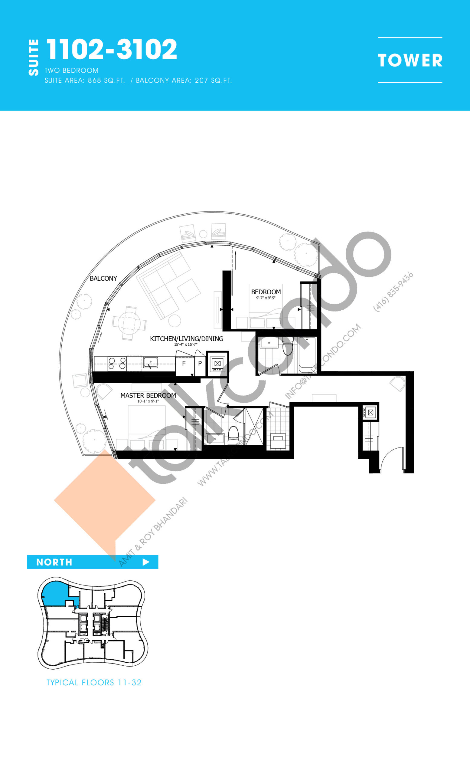 1102-3102 Floor Plan at Stanley Condos - 868 sq.ft