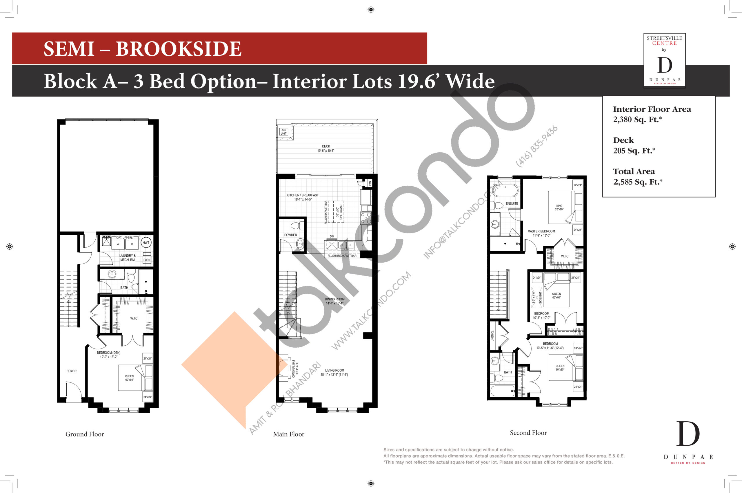 Brookside - 3bd Floor Plan at Streetsville Centre - 2380 sq.ft