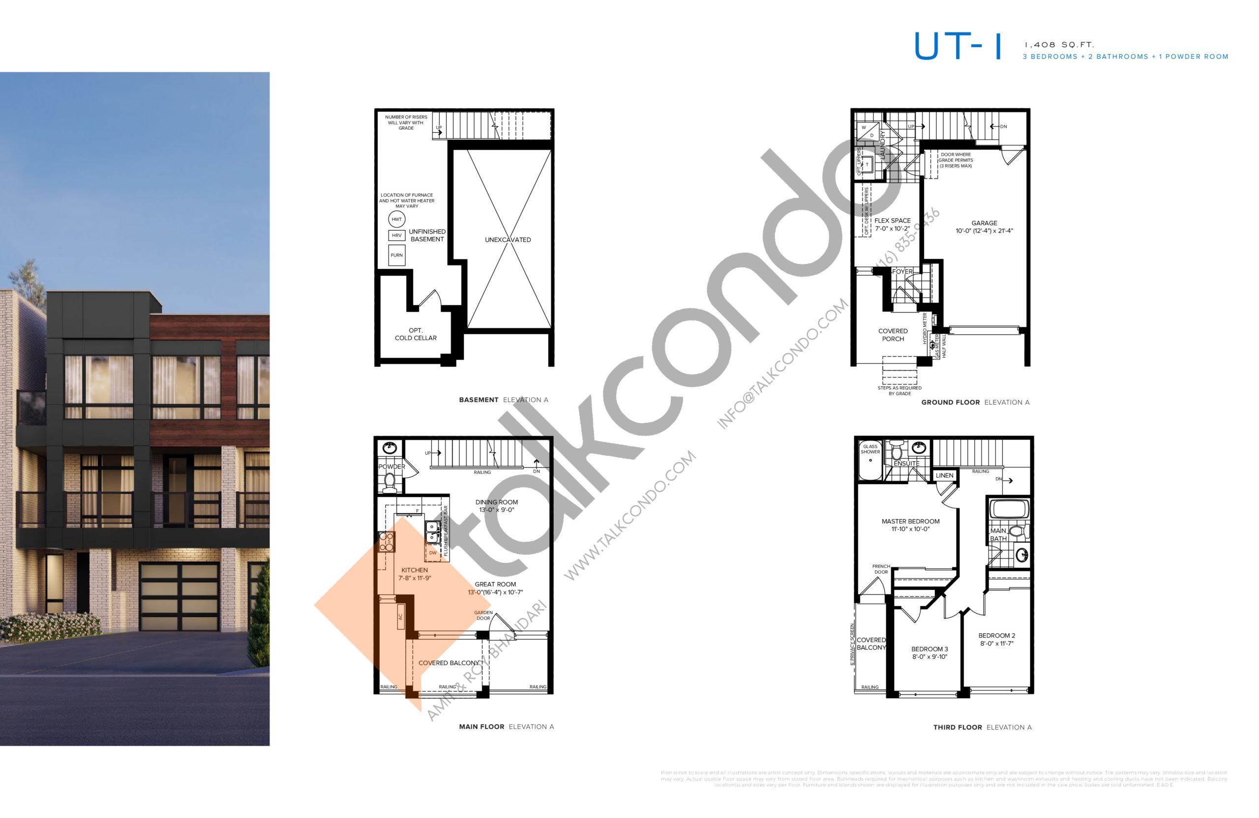 UT-1 Floor Plan at SXSW Ravine Towns - 1408 sq.ft