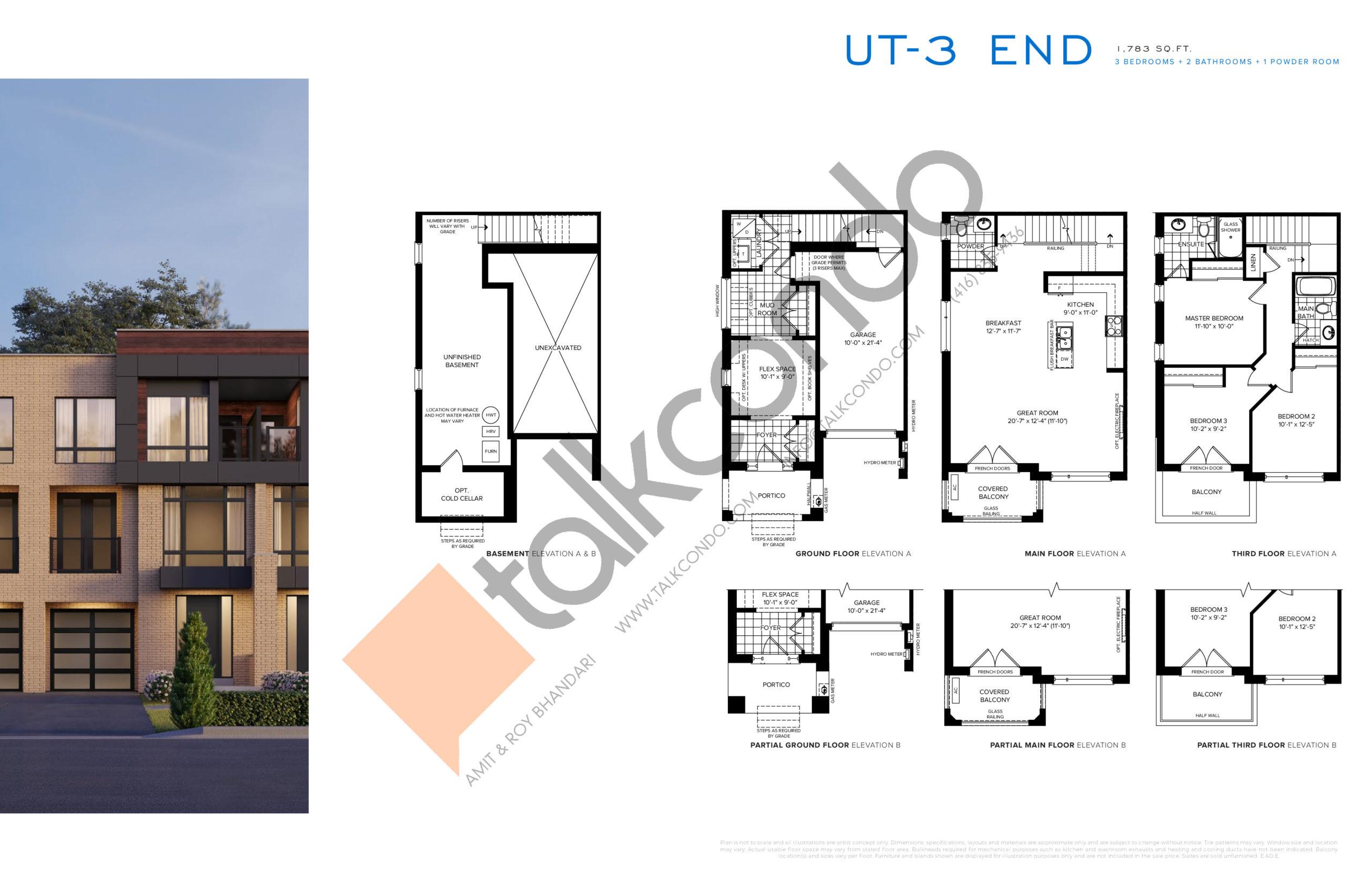 UT-3 End Floor Plan at SXSW Ravine Towns - 1783 sq.ft