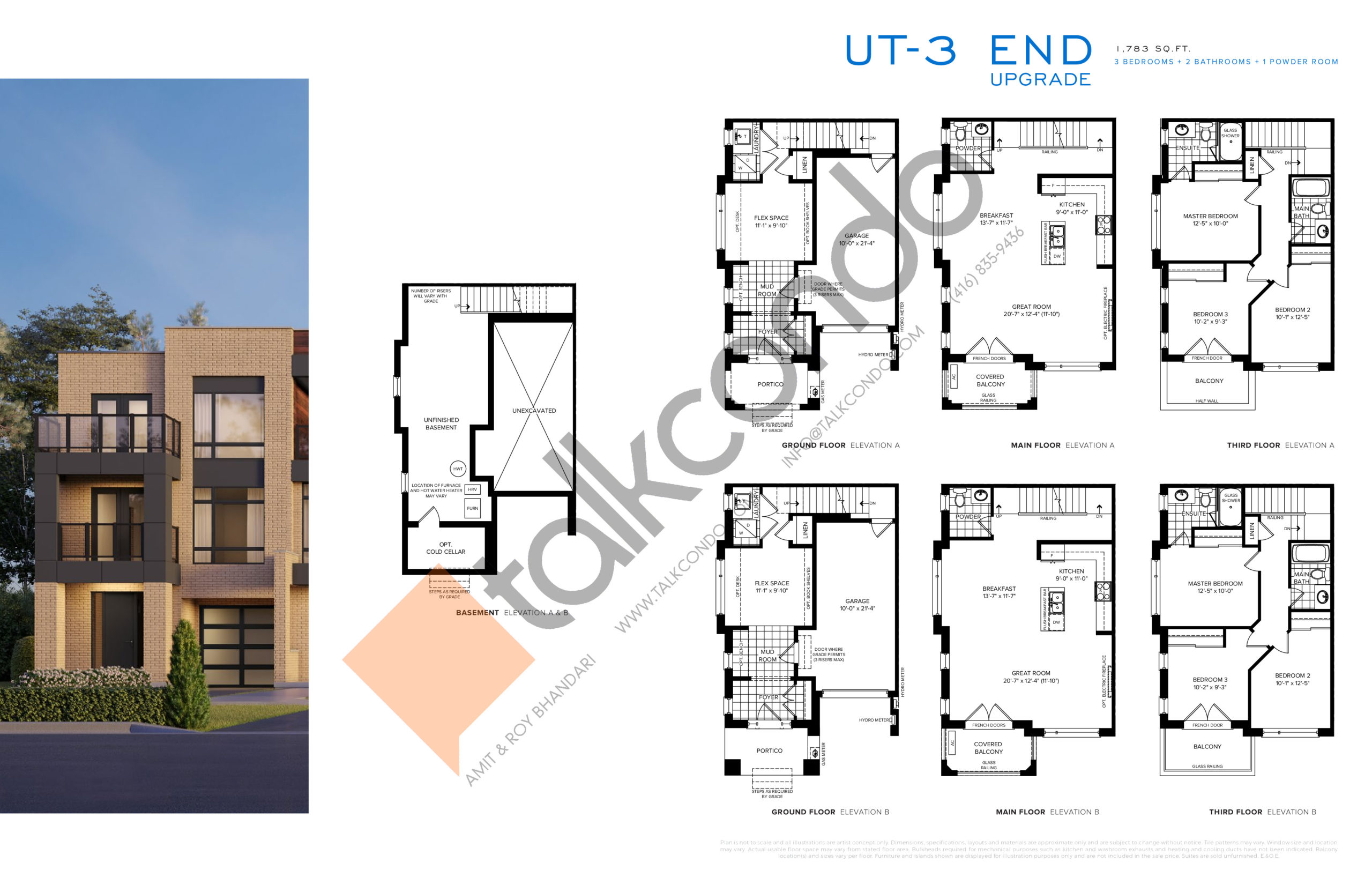 UT-3 End Upgrade Floor Plan at SXSW Ravine Towns - 1783 sq.ft