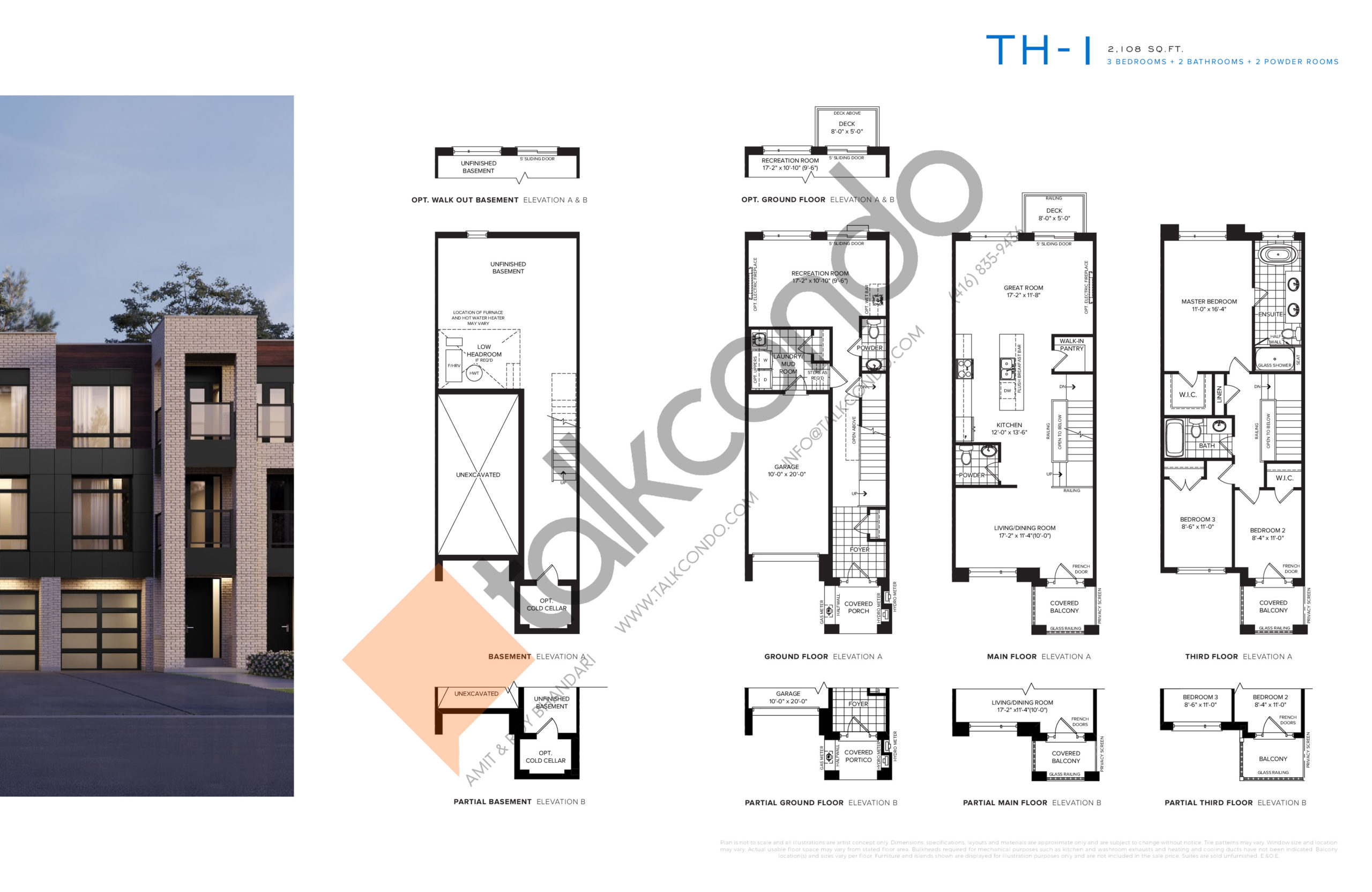 TH-1 Floor Plan at SXSW Ravine Towns - 2108 sq.ft