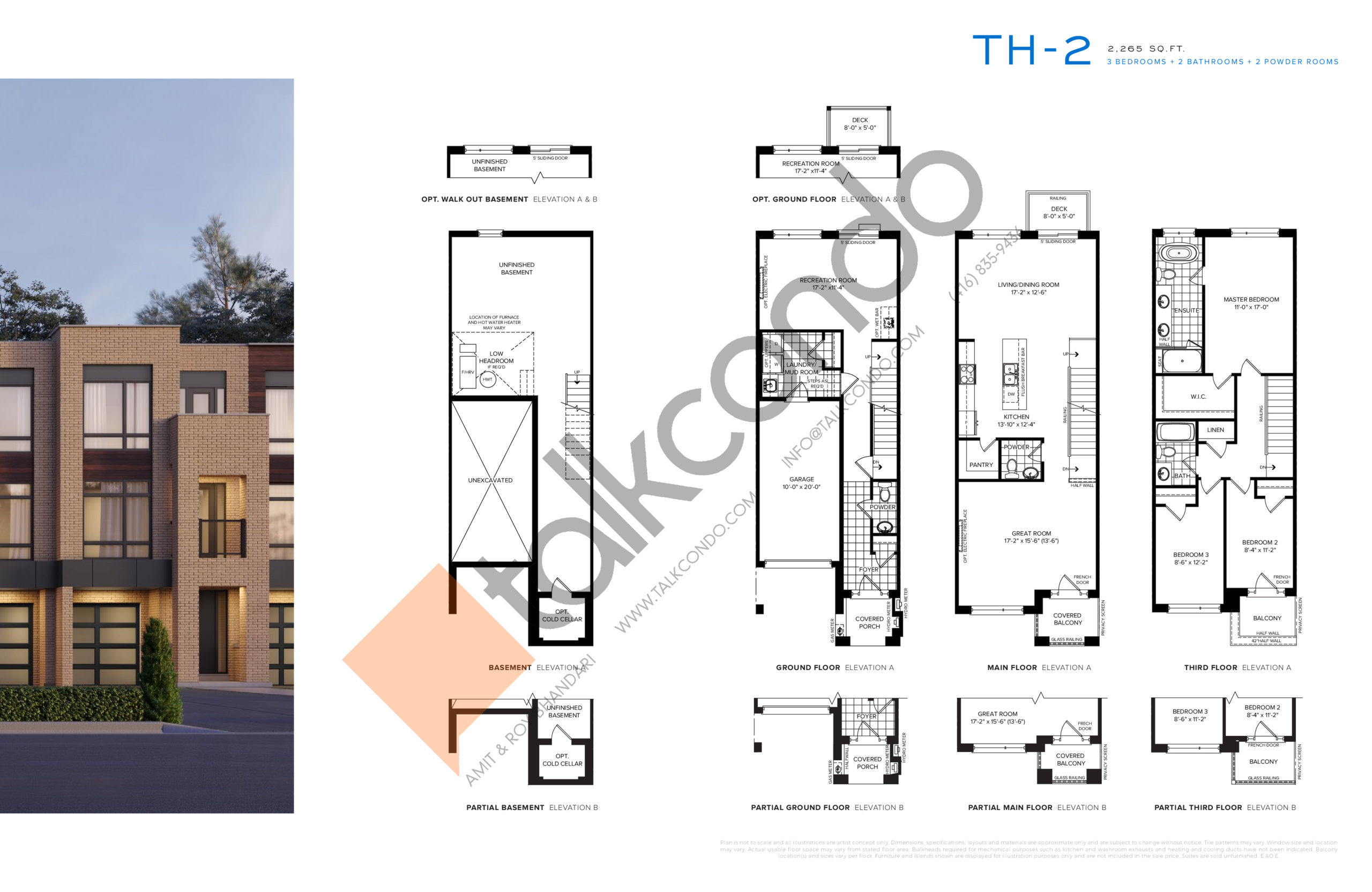 TH-2 Floor Plan at SXSW Ravine Towns - 2265 sq.ft