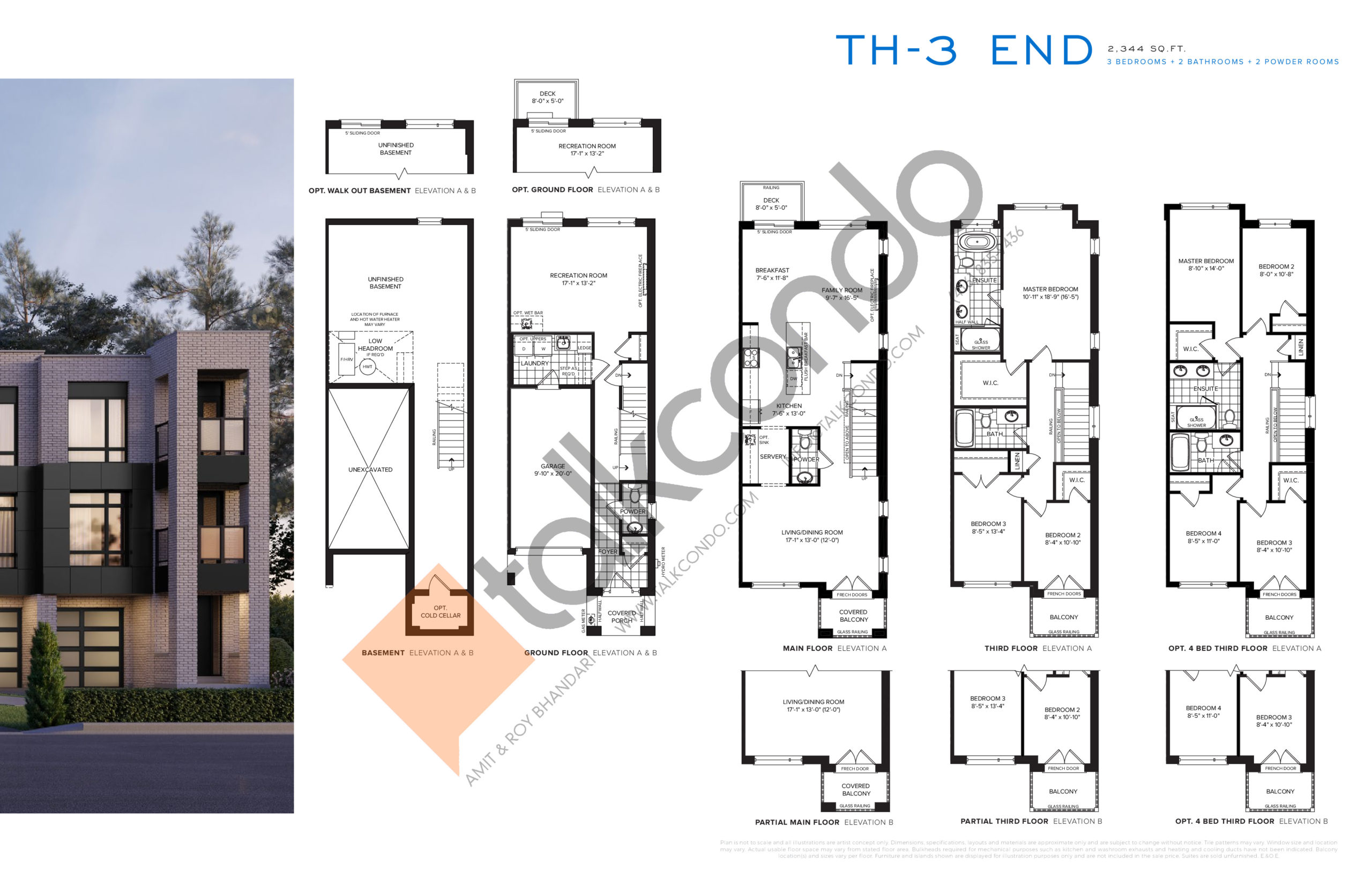 TH-3 End Floor Plan at SXSW Ravine Towns - 2344 sq.ft
