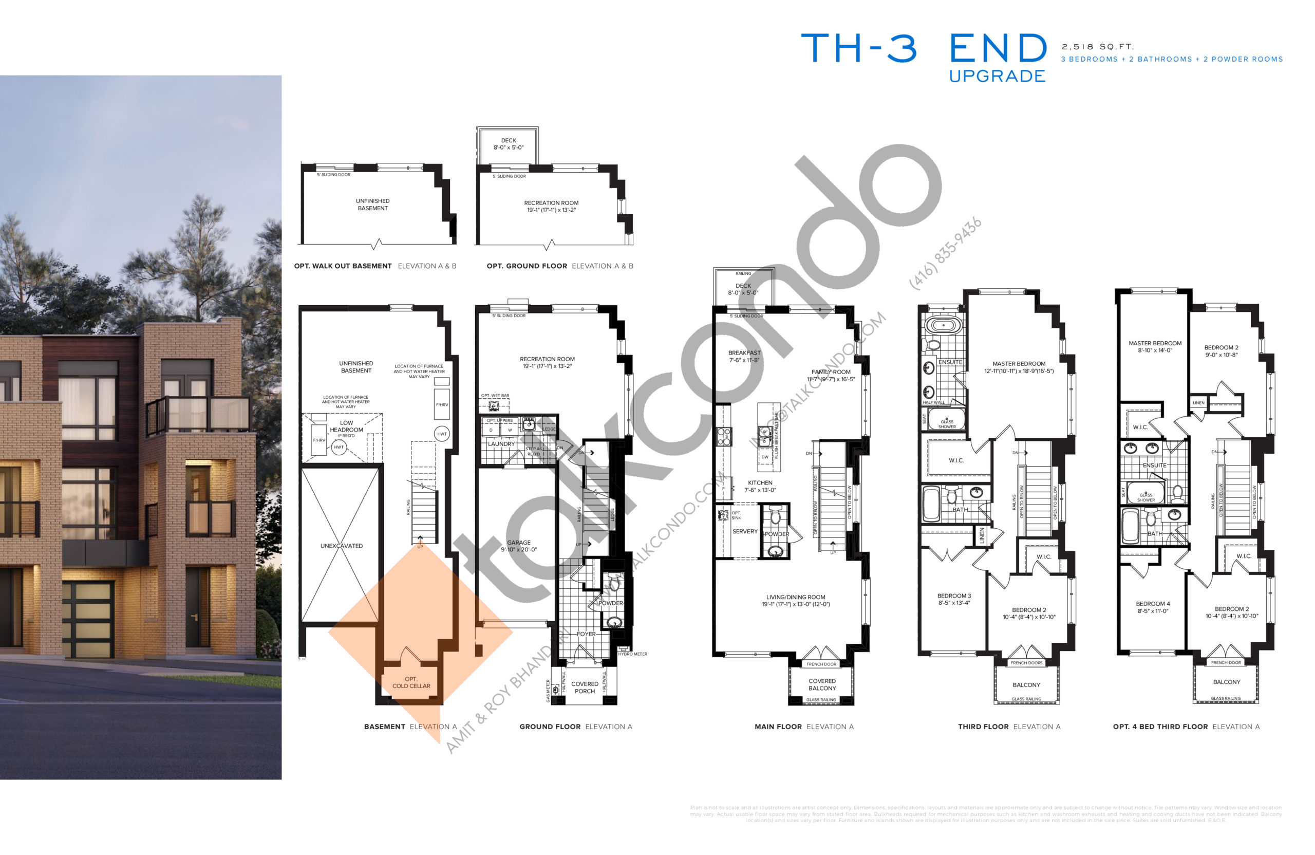 TH-3 End Upgrade Floor Plan at SXSW Ravine Towns - 2518 sq.ft