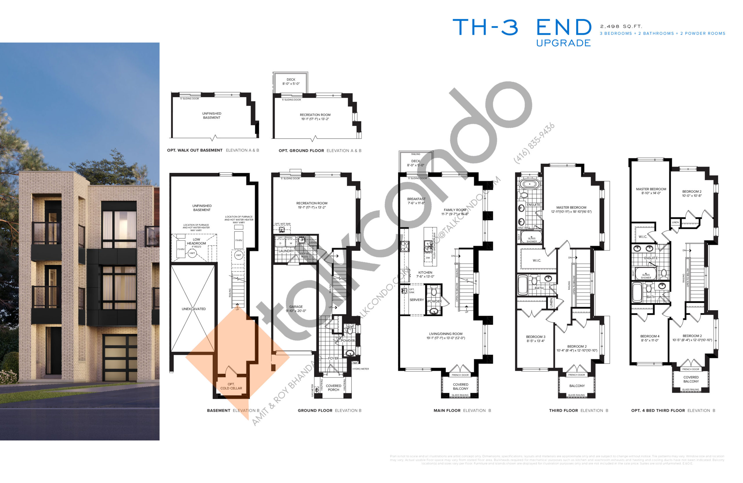 TH-3 End Upgrade Floor Plan at SXSW Ravine Towns - 2498 sq.ft