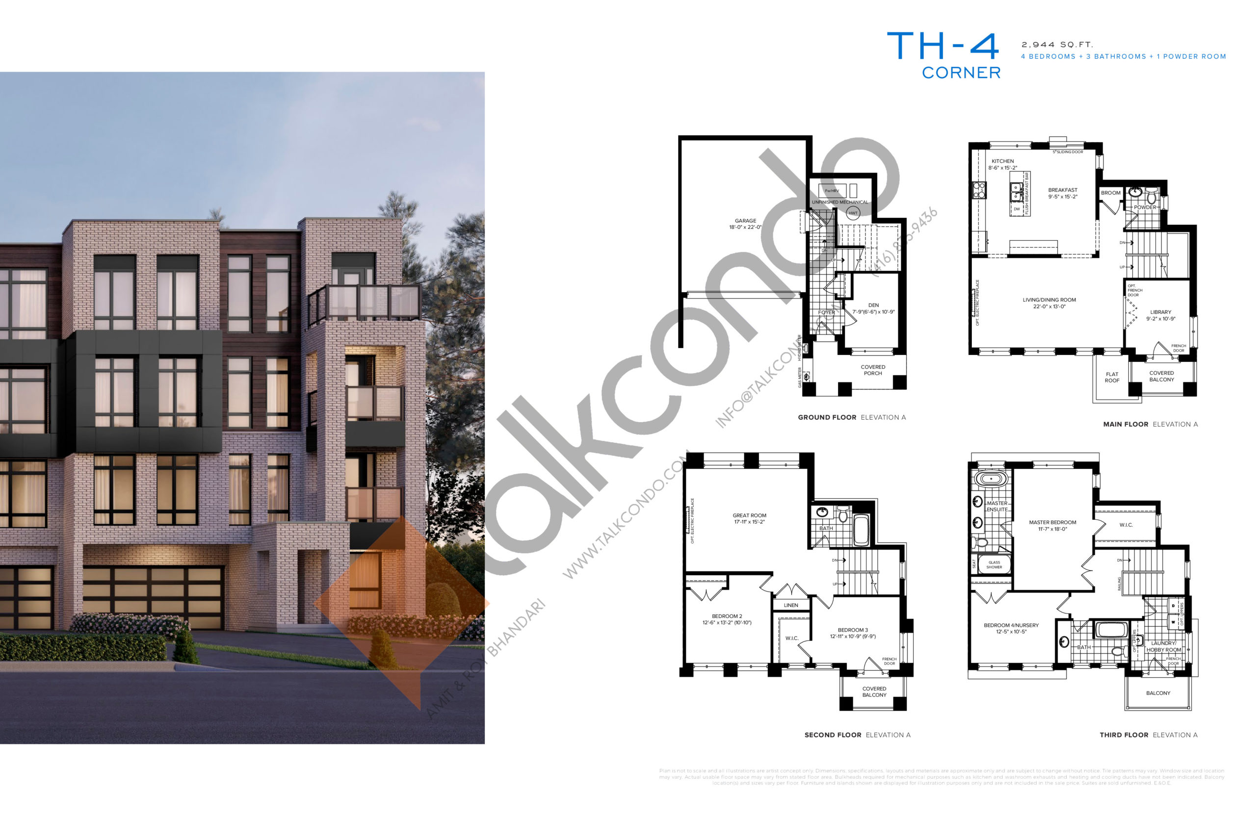 TH-4 Corner Floor Plan at SXSW Ravine Towns - 2944 sq.ft