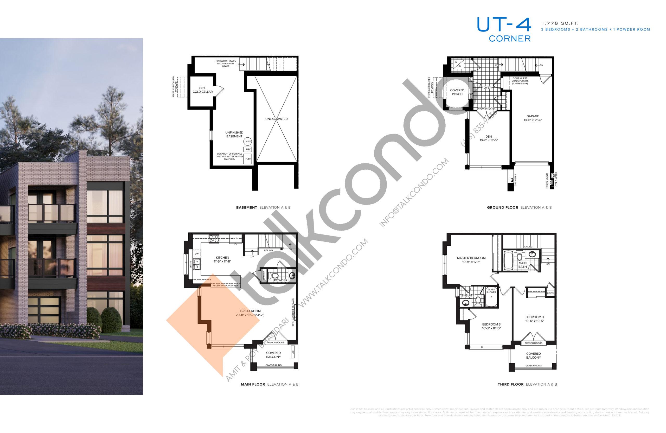 UT-4 Corner Floor Plan at SXSW Ravine Towns - 1778 sq.ft