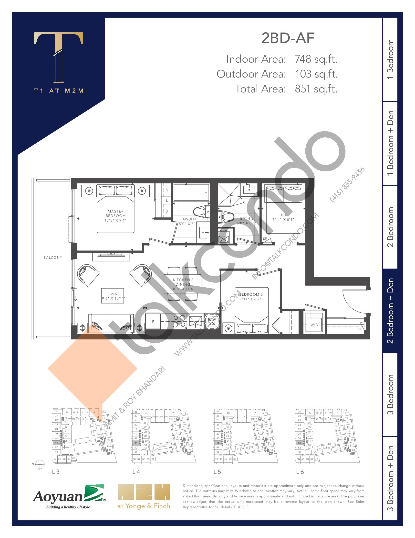 2BD-AF Floor Plan at T1 at M2M Condos - 748 sq.ft