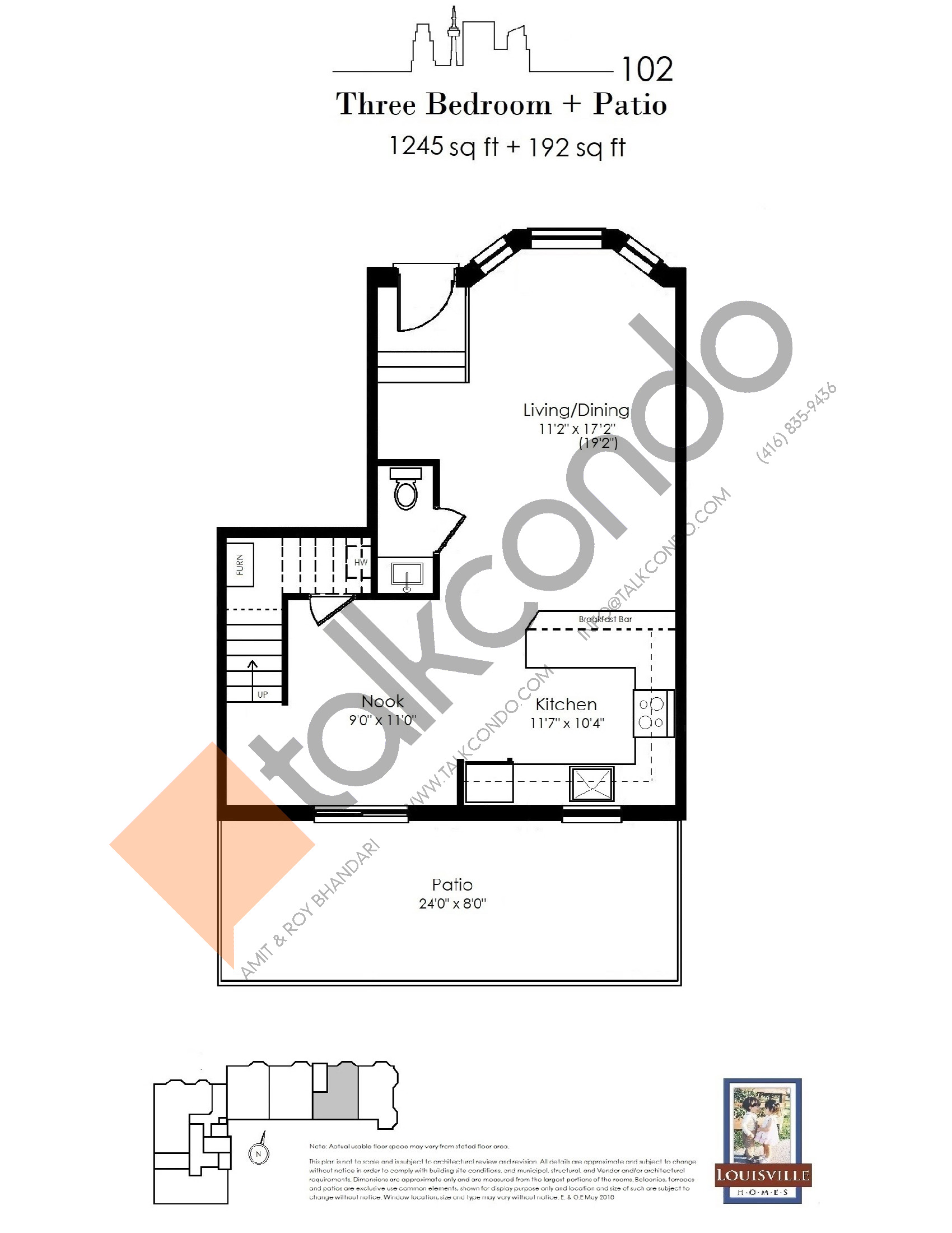 102 (1/2) Floor Plan at The Somerside Collection Condos - 1245 sq.ft